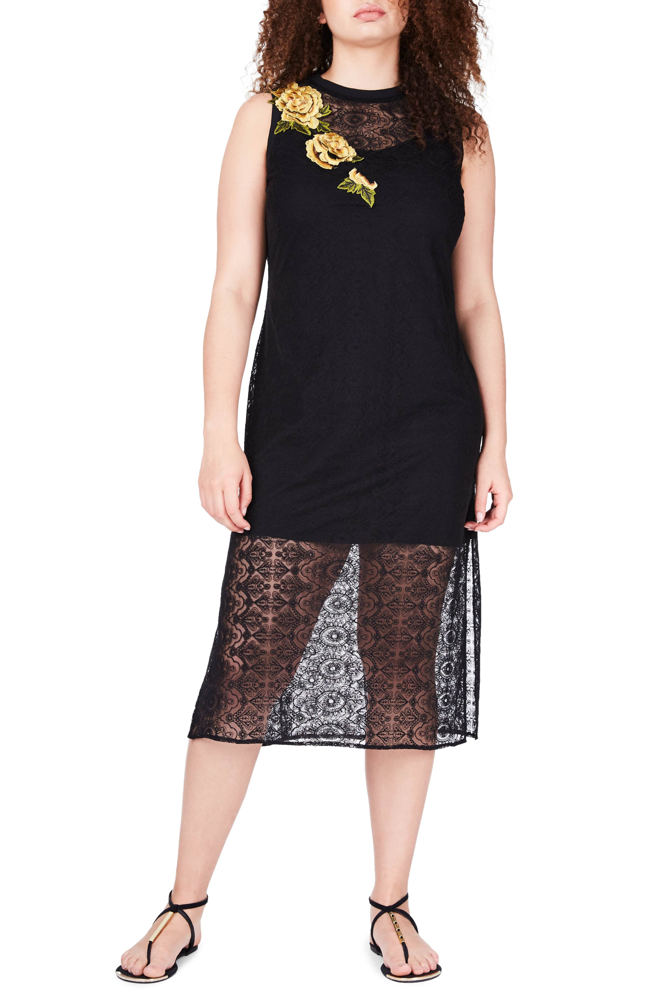 Embroidered Lace Tunic Dress,                         Main,                         color, Black