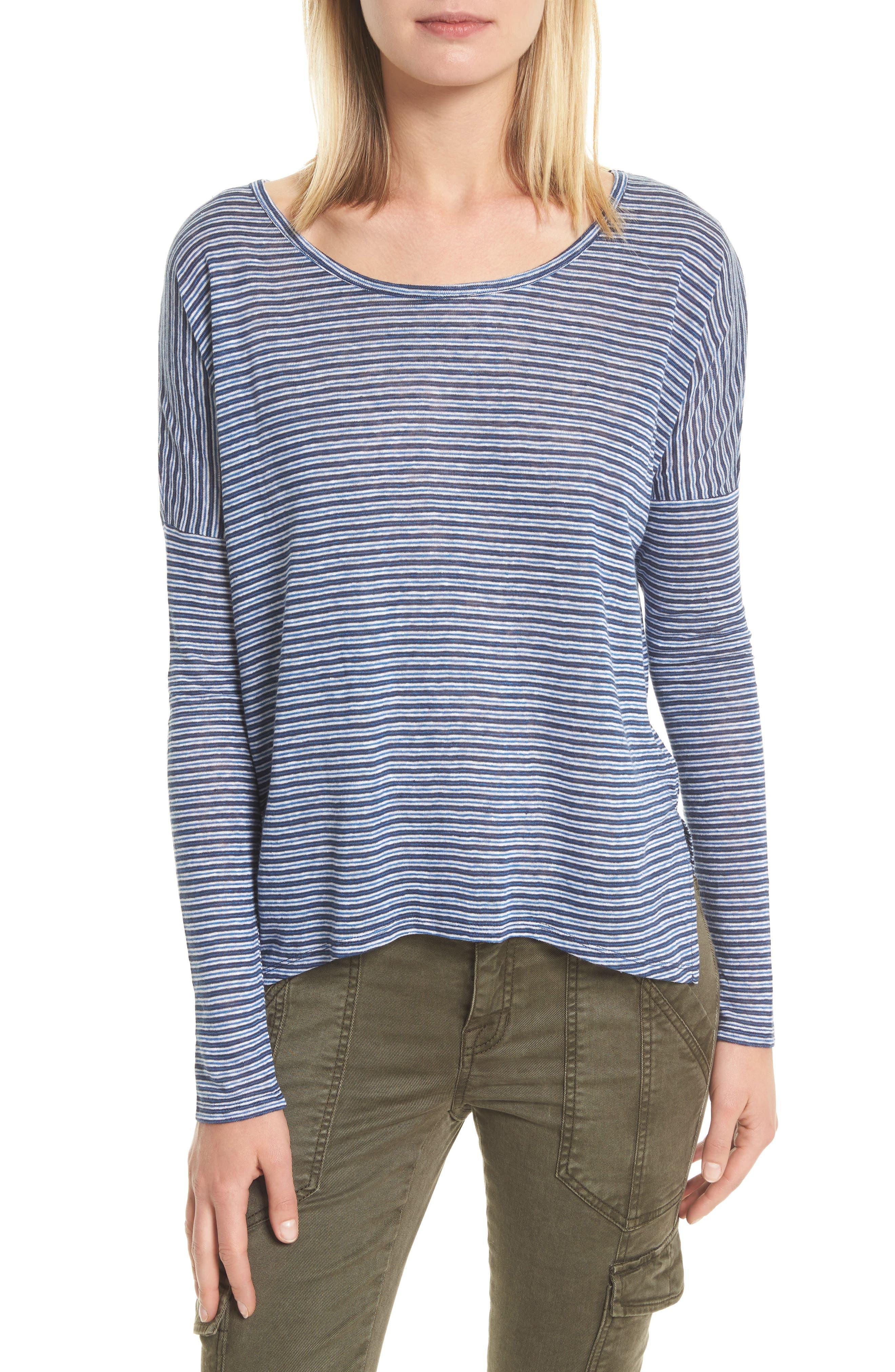 Faya Stripe Linen Sweater,                         Main,                         color, Moroccan Blue
