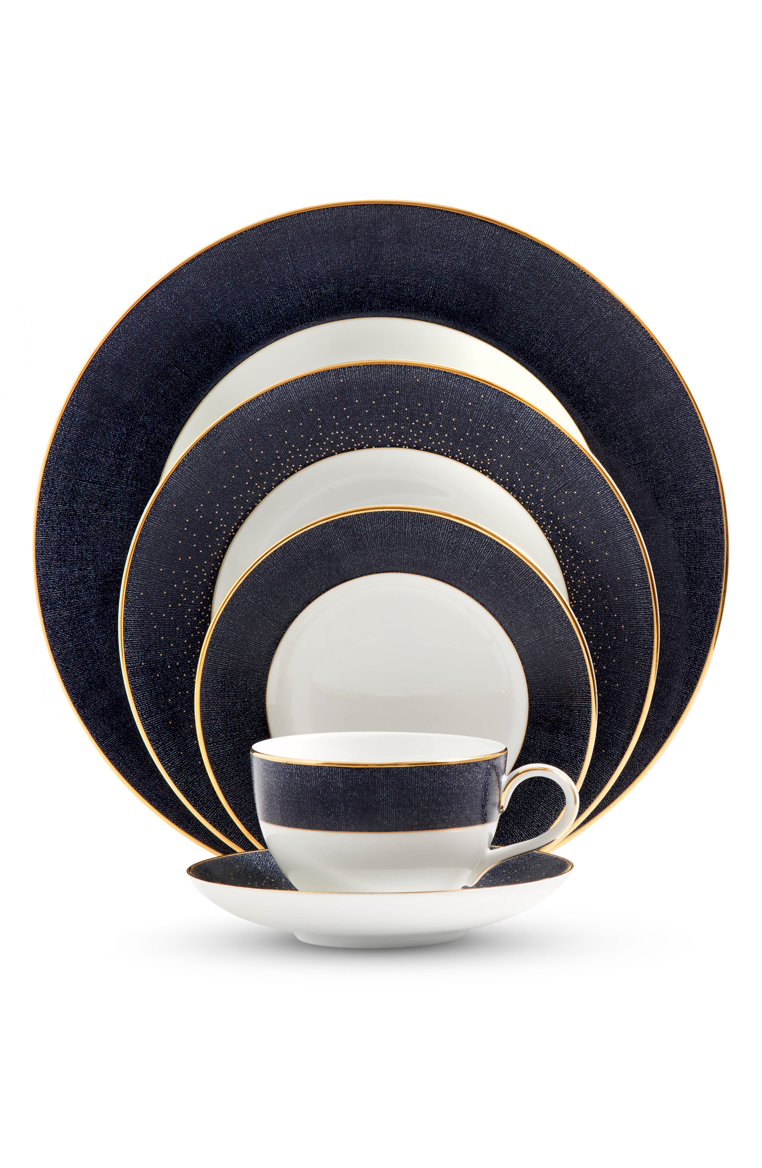 Main Image - Monique Lhuillier Waterford Stardust Night 5-Piece Bone China Dinnerware Place Setting