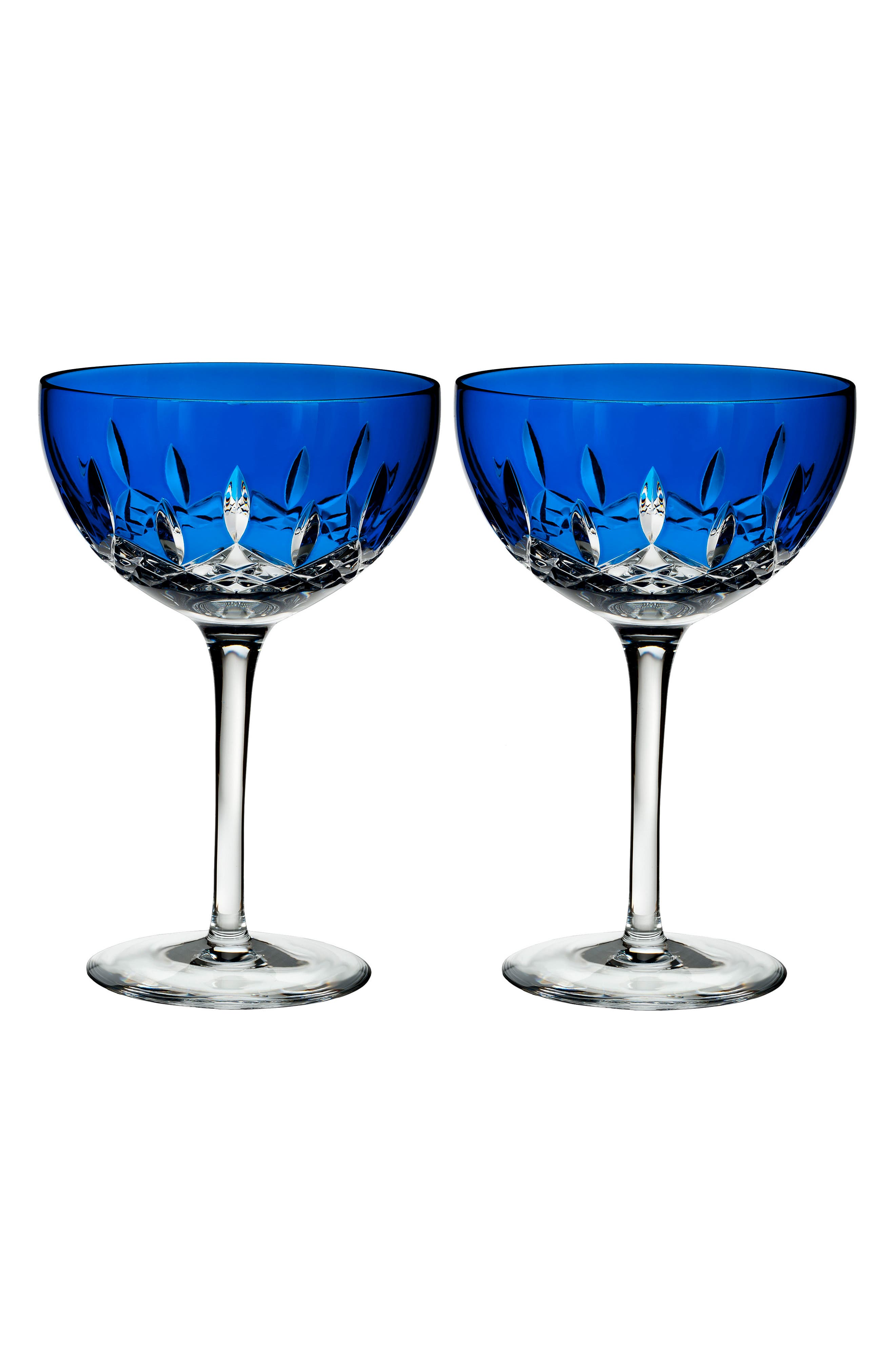 Lismore Pops Set of 2 Cobalt Lead Crystal Cocktail Glasses,                         Main,                         color, Crystal