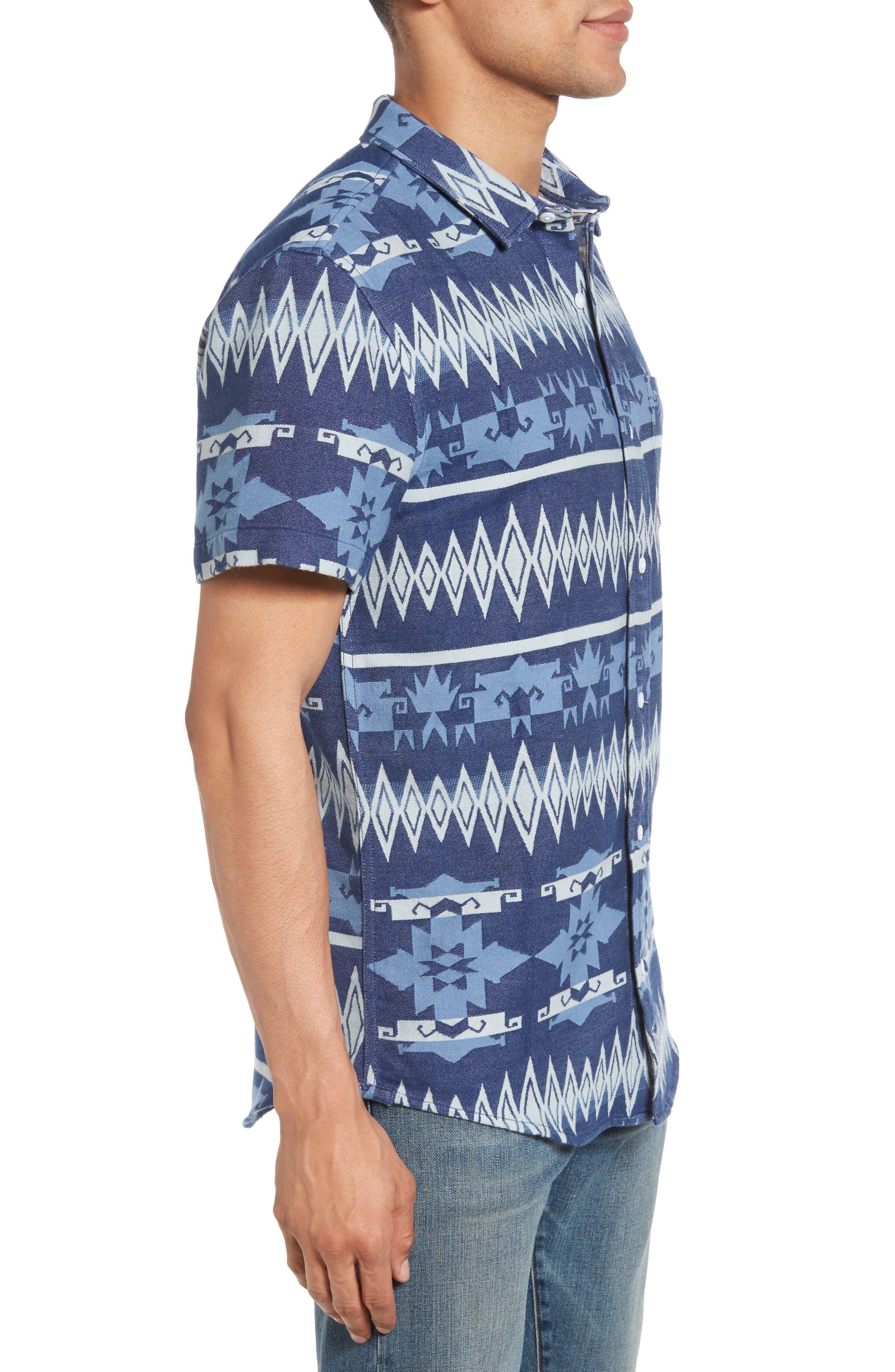 Geo Jacquard Shirt,                             Alternate thumbnail 3, color,                             Blue Dusk Oversize Geo