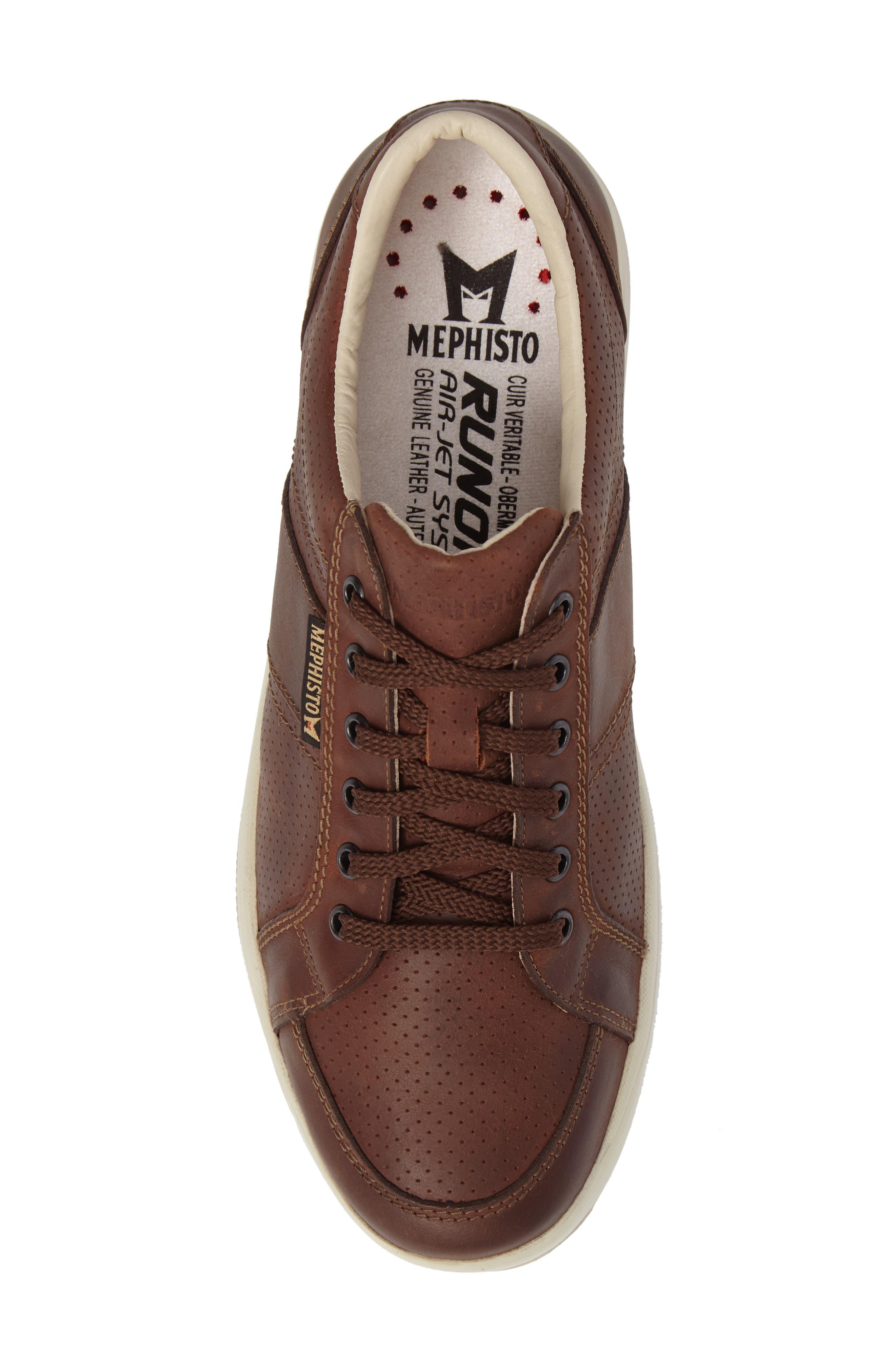 'Hero' Perforated Sneaker,                             Alternate thumbnail 4, color,                             Chestnut Nubuck Leather