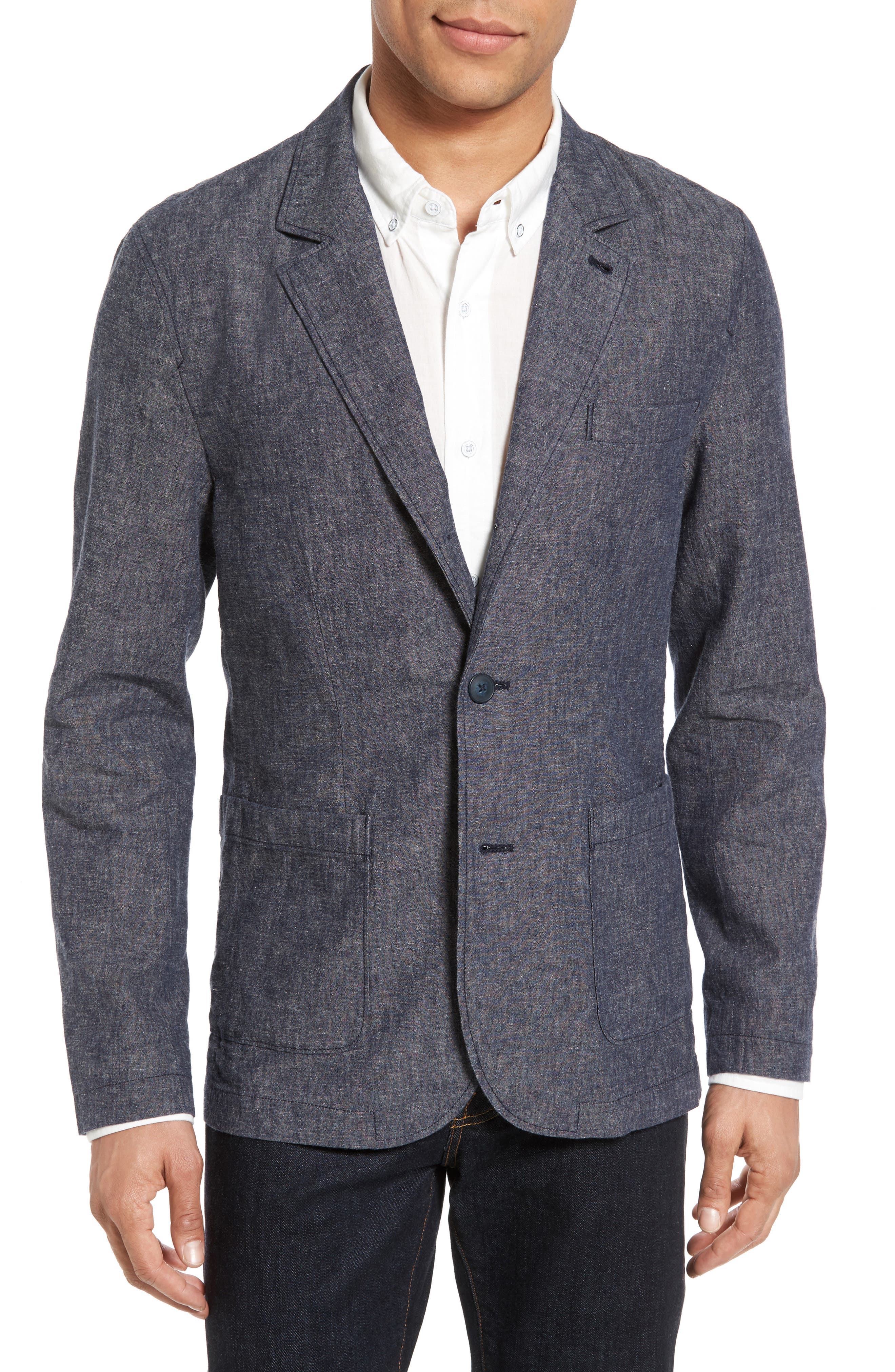 Trunnel Slim Fit Linen Blend Blazer,                         Main,                         color, Night Sea