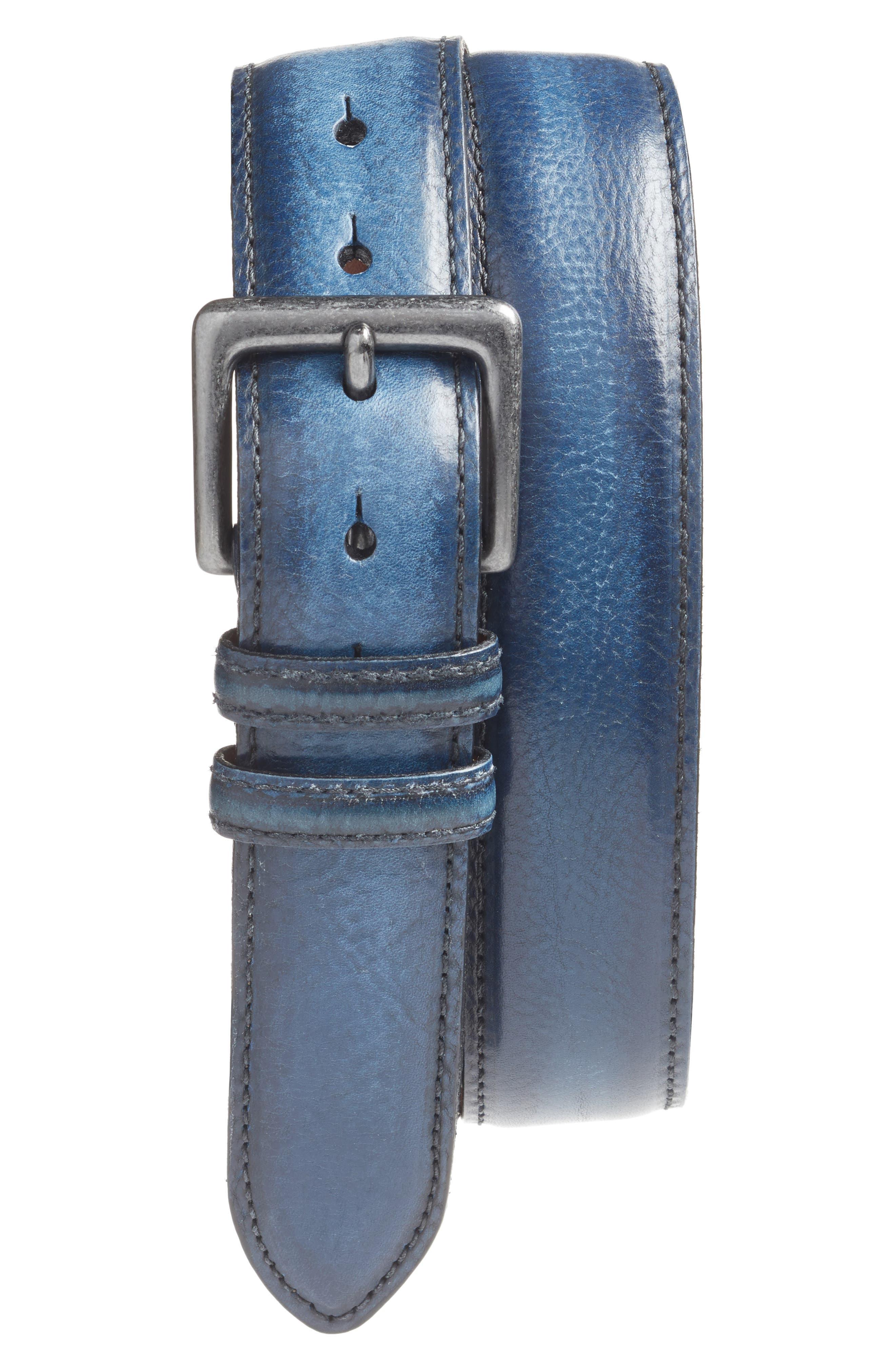 Leather Belt,                         Main,                         color, Navy