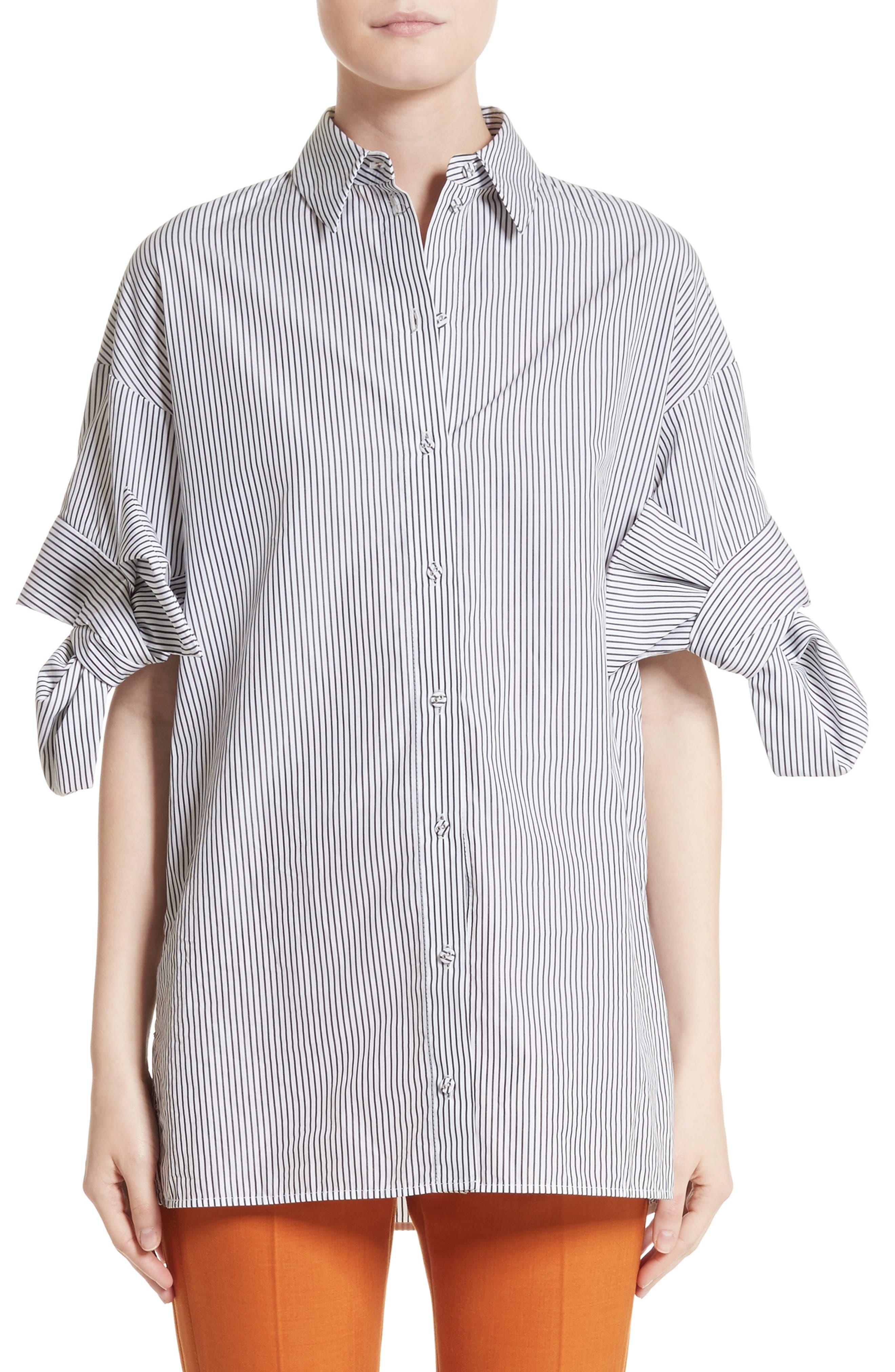 Bow Sleeve Shirt,                         Main,                         color, Black/ White