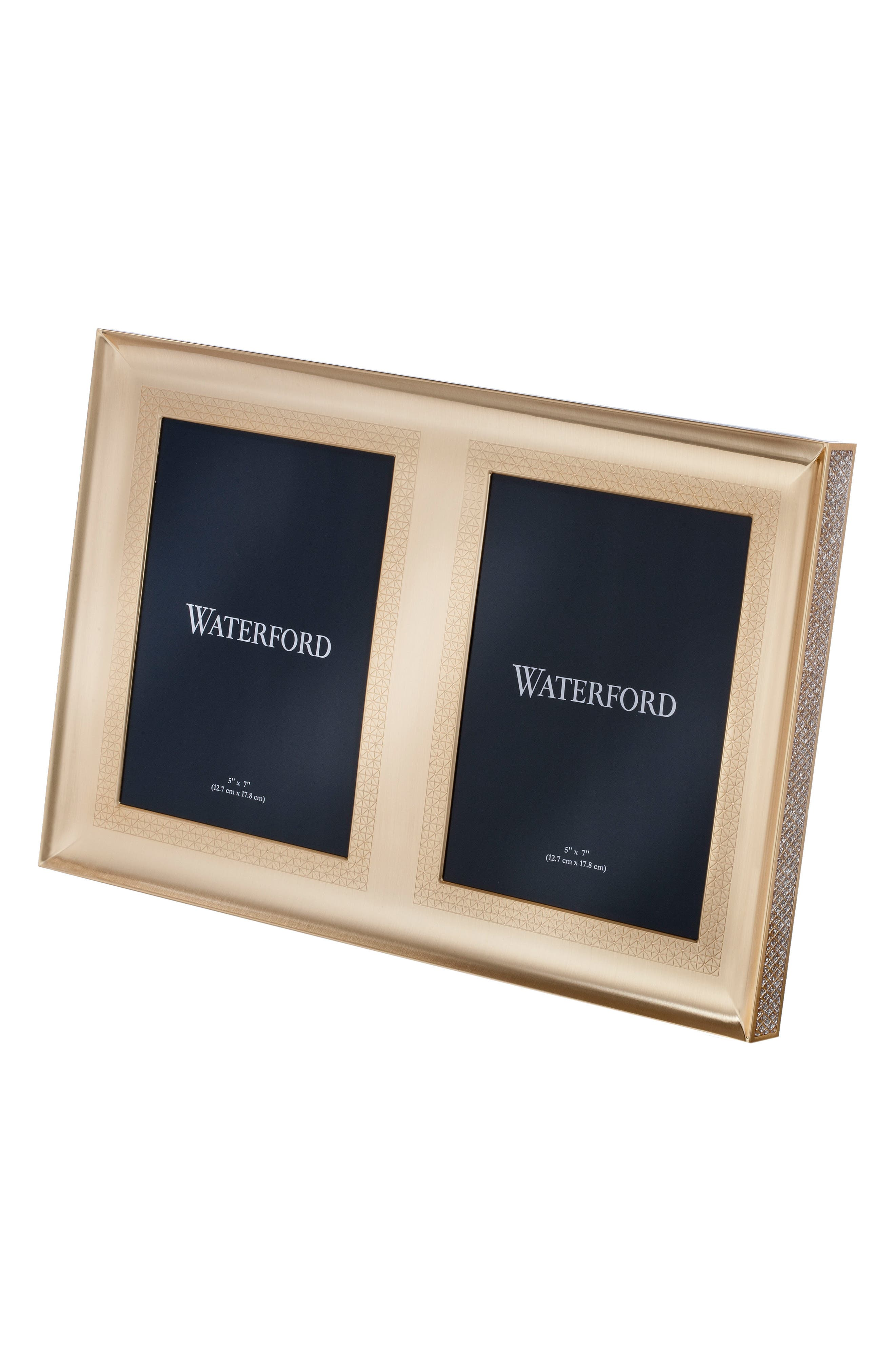 Lismore Diamond Gold Double Picture Frame,                         Main,                         color, Crystal