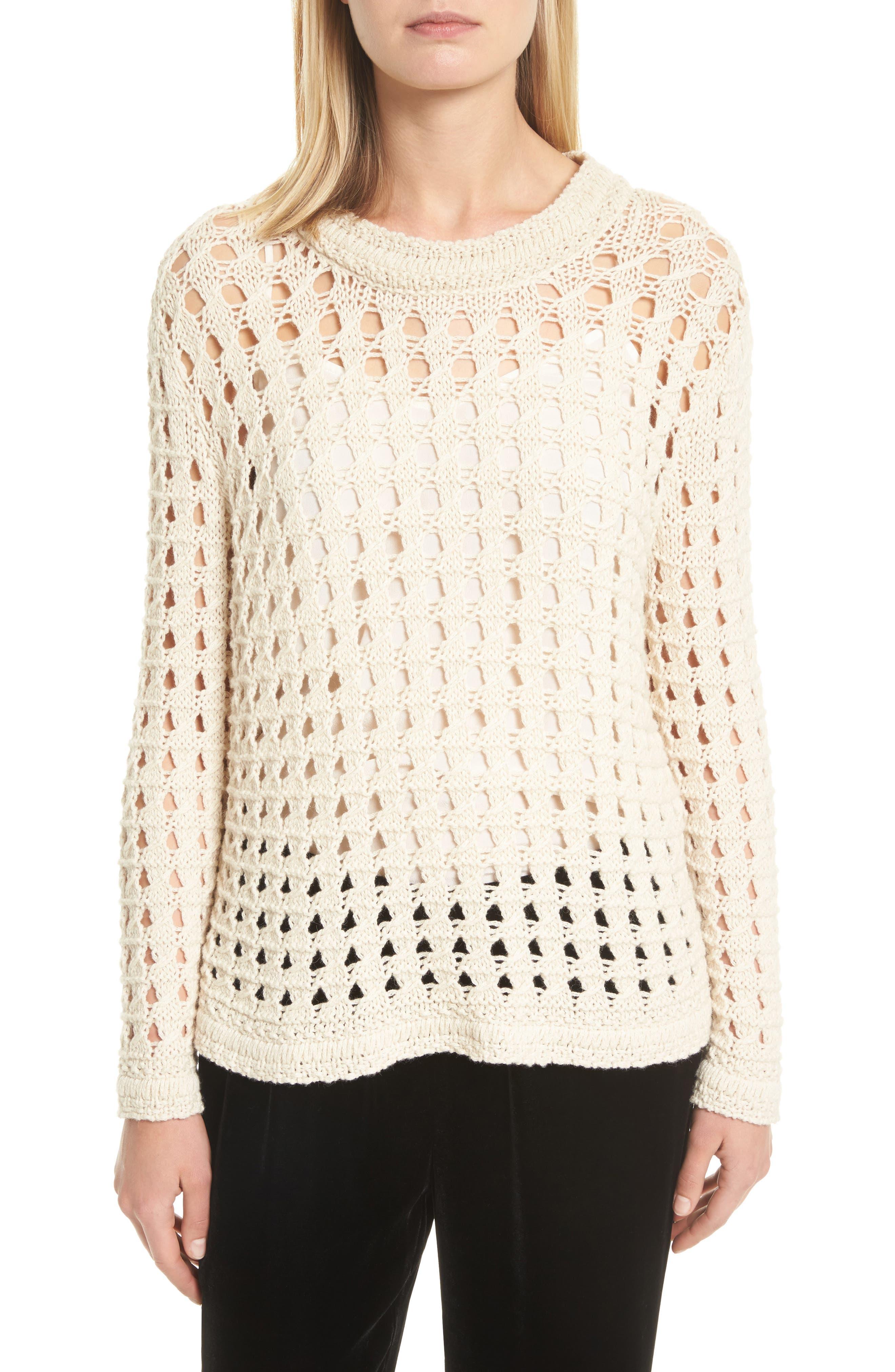 Macha Open Stitch Cotton & Alpaca Sweater,                         Main,                         color, Natural