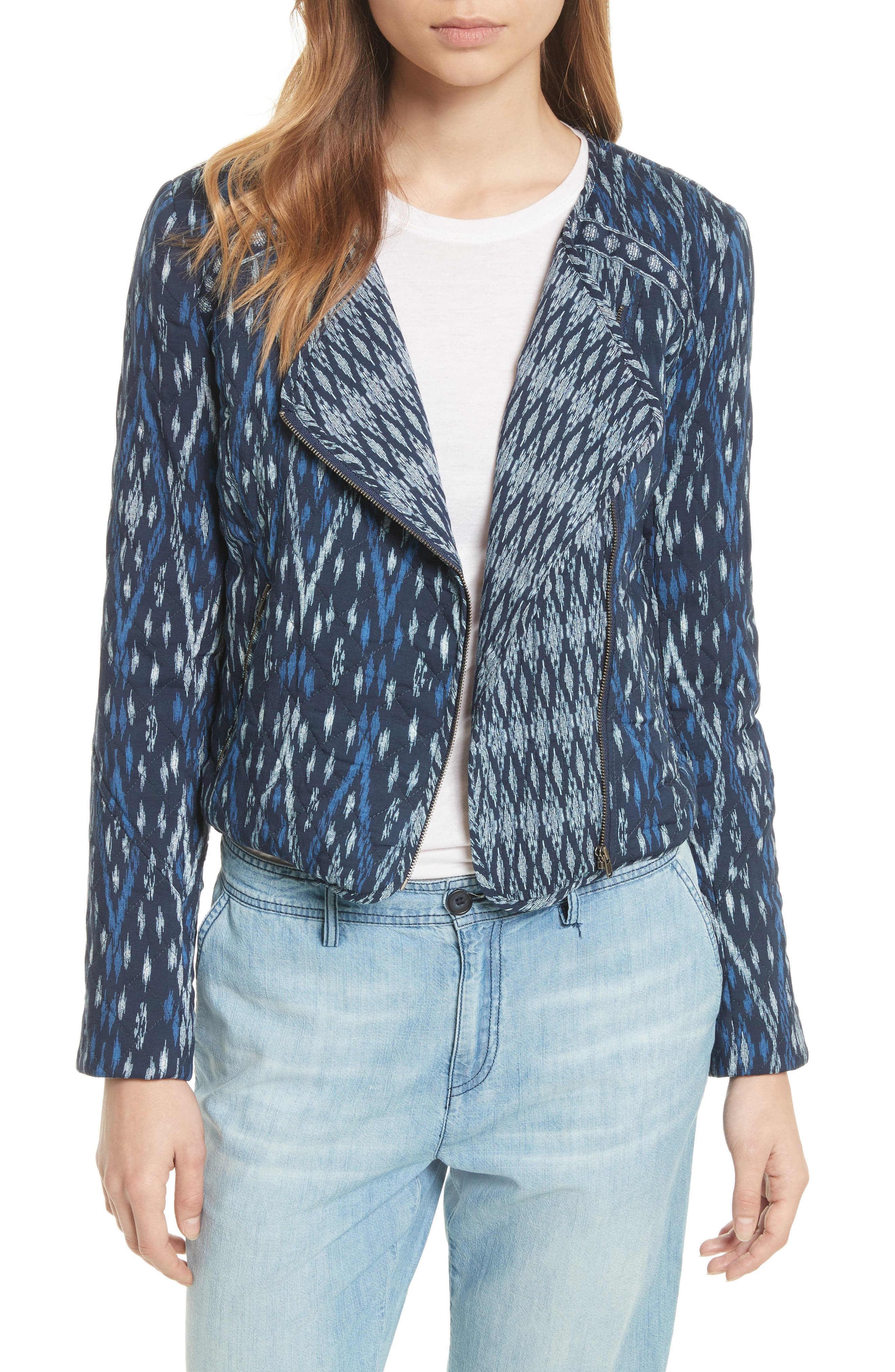 Akinyi Quilted Crop Jacket,                         Main,                         color, Dark Navy