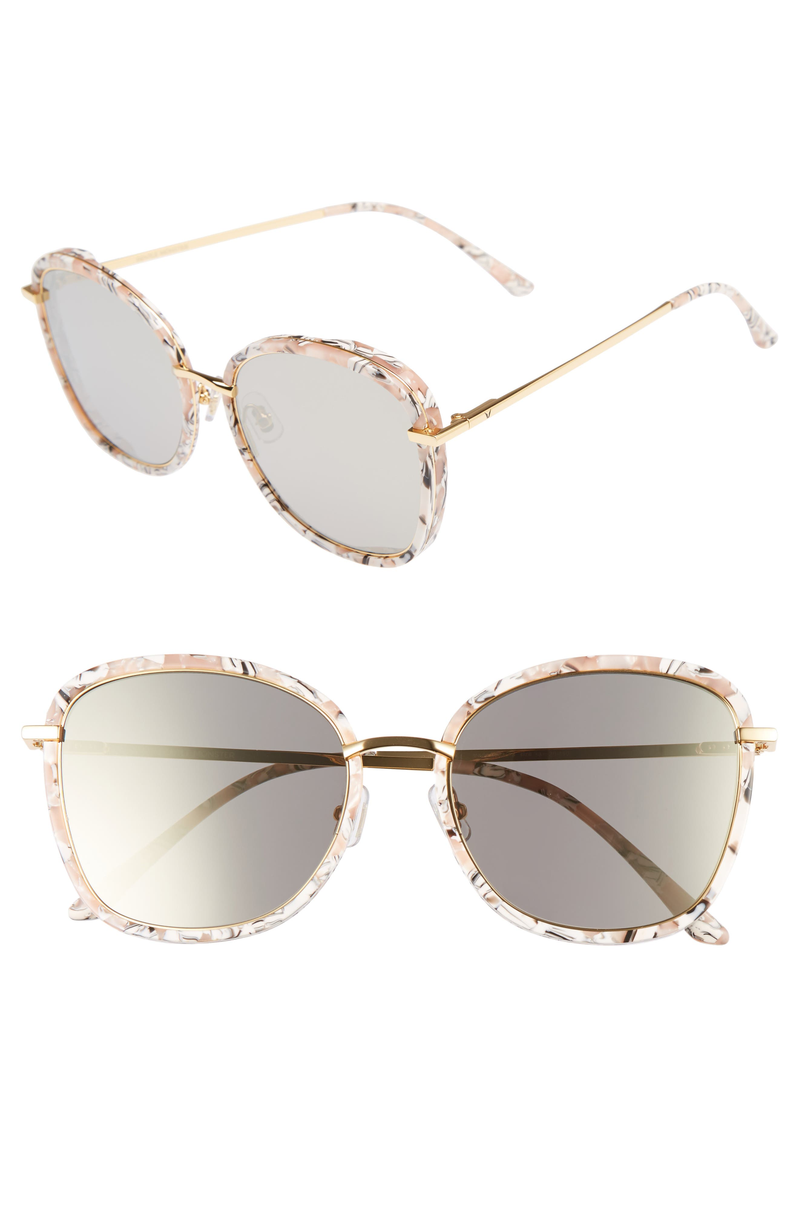 Switch Back 58mm Rounded Sunglasses,                         Main,                         color, Marble Mirror