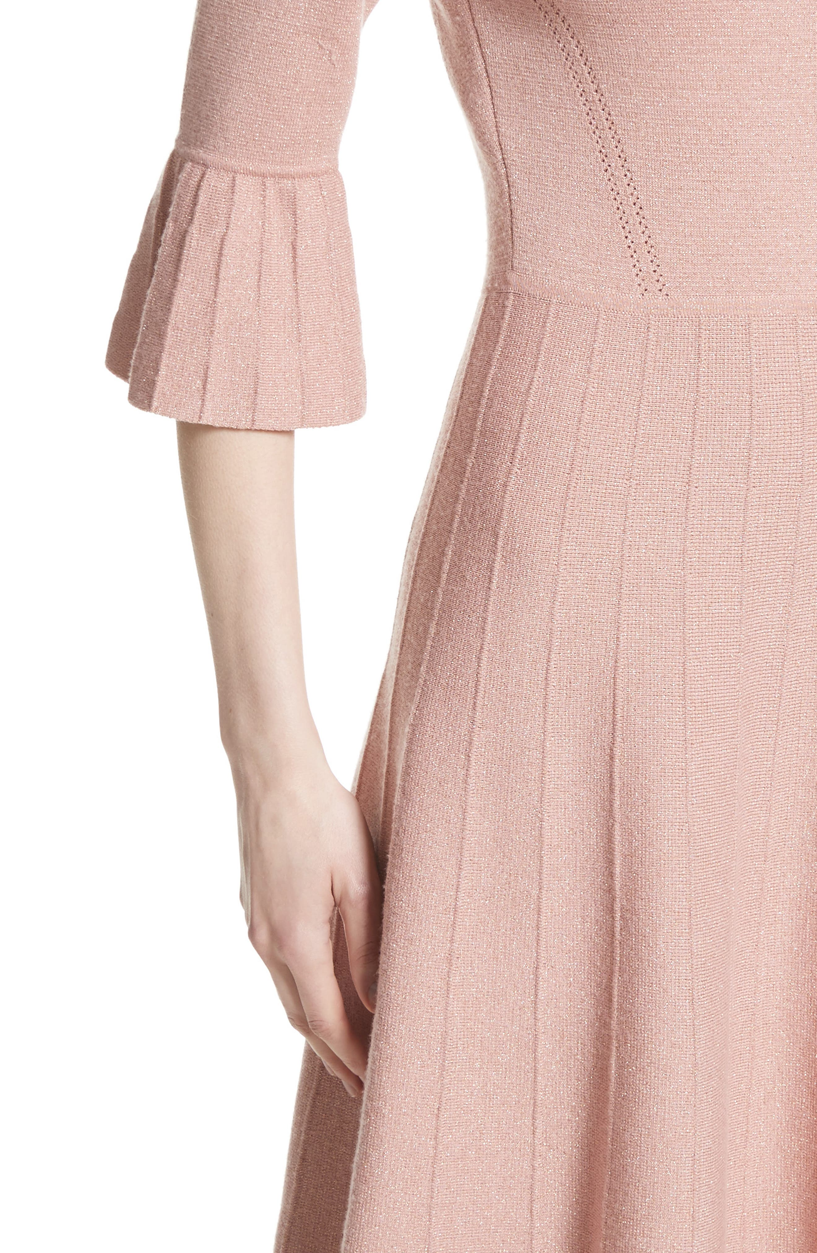 Metallic Knit Fit & Flare Dress,                             Alternate thumbnail 6, color,                             Pink