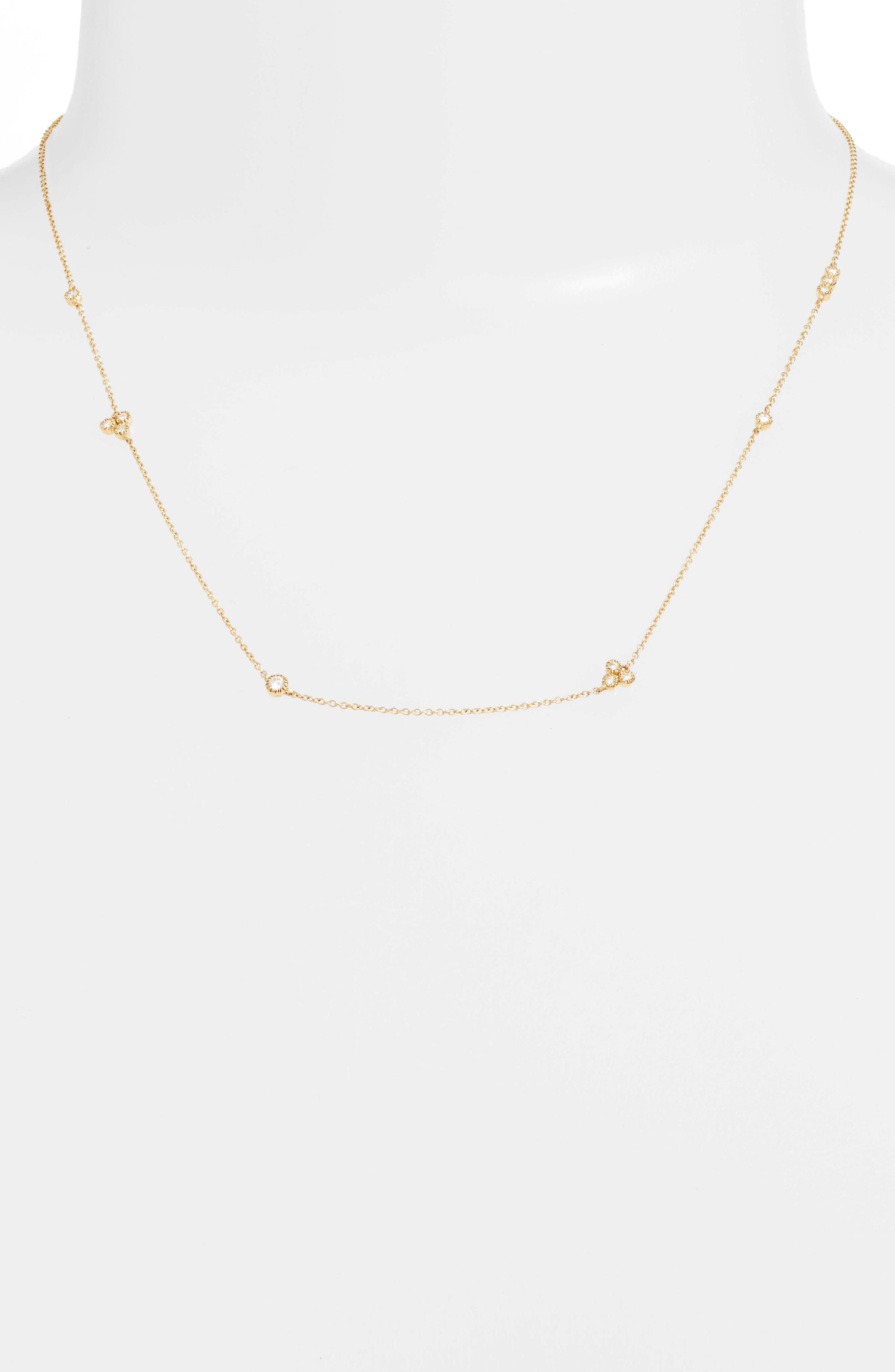 Harlowe Short Diamond Station Necklace,                             Main thumbnail 1, color,                             Yellow Gold