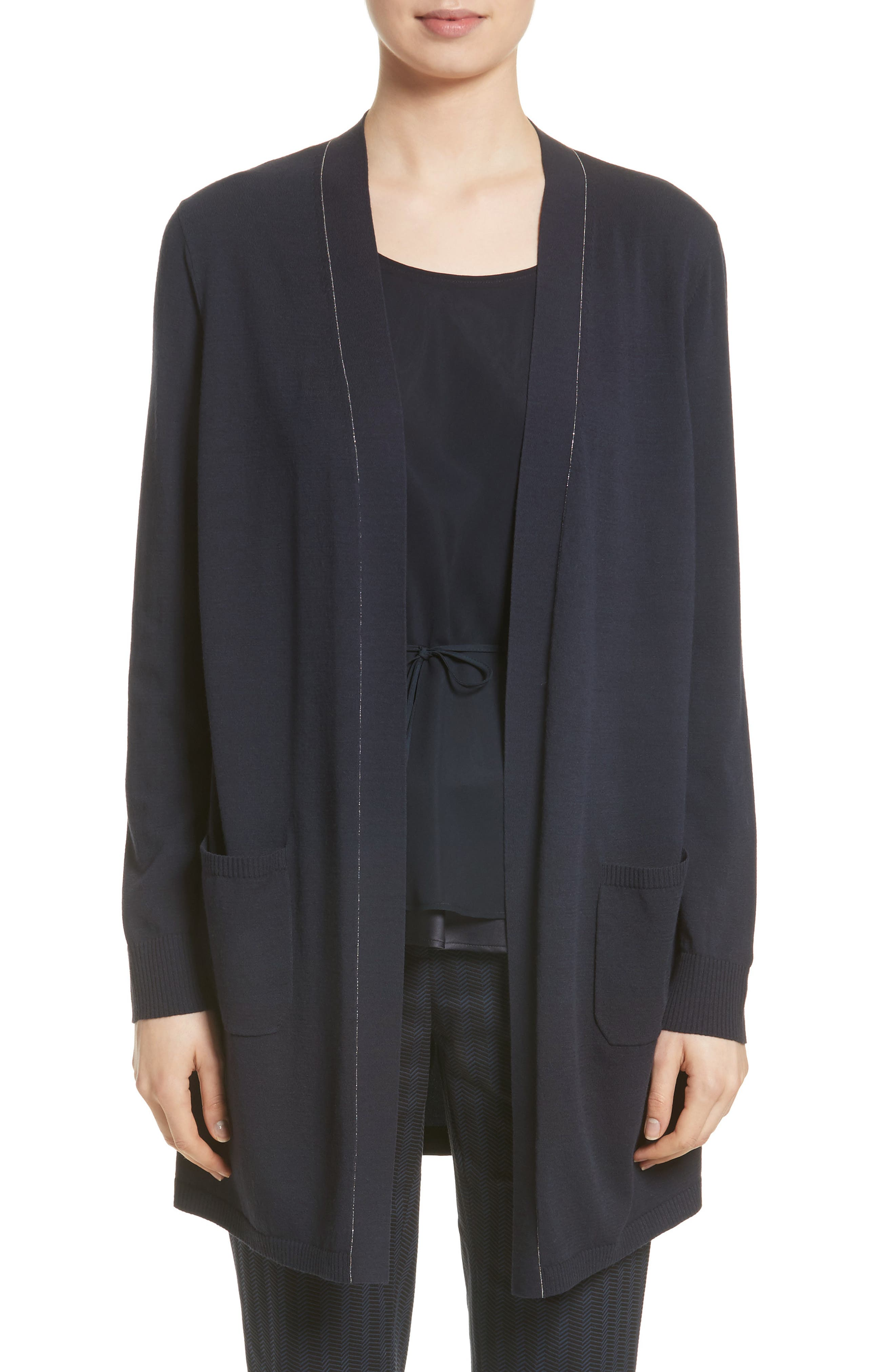 Lafayette 148 New York Matte Silk Back Cardigan (Nordstrom Exclusive)