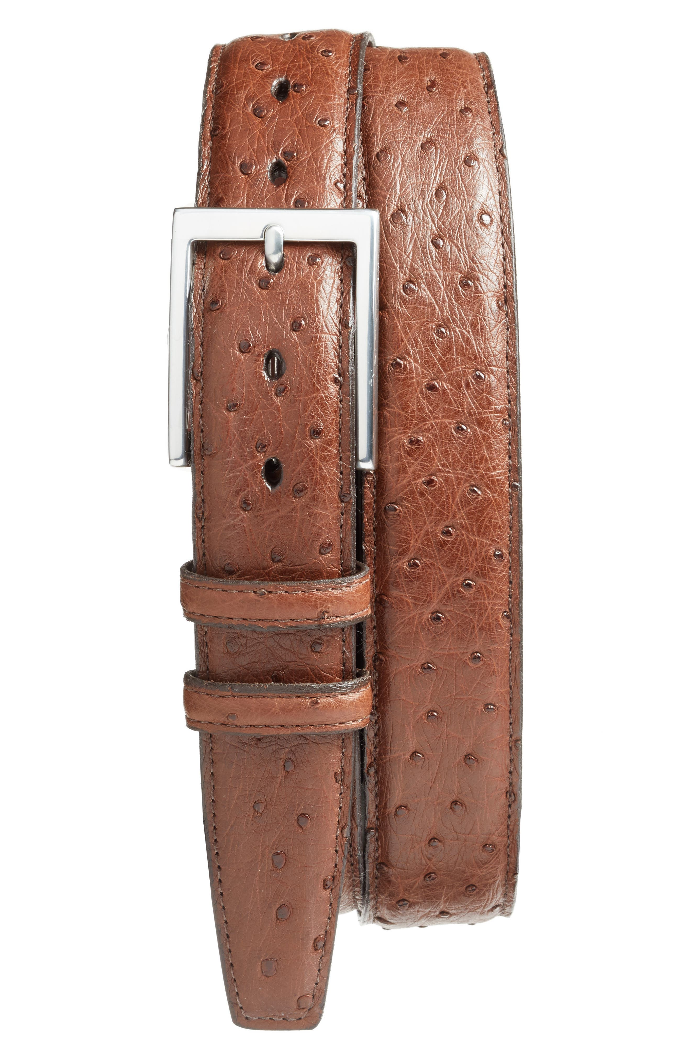 Ostrich Leather Belt,                             Main thumbnail 1, color,                             Cappuccino
