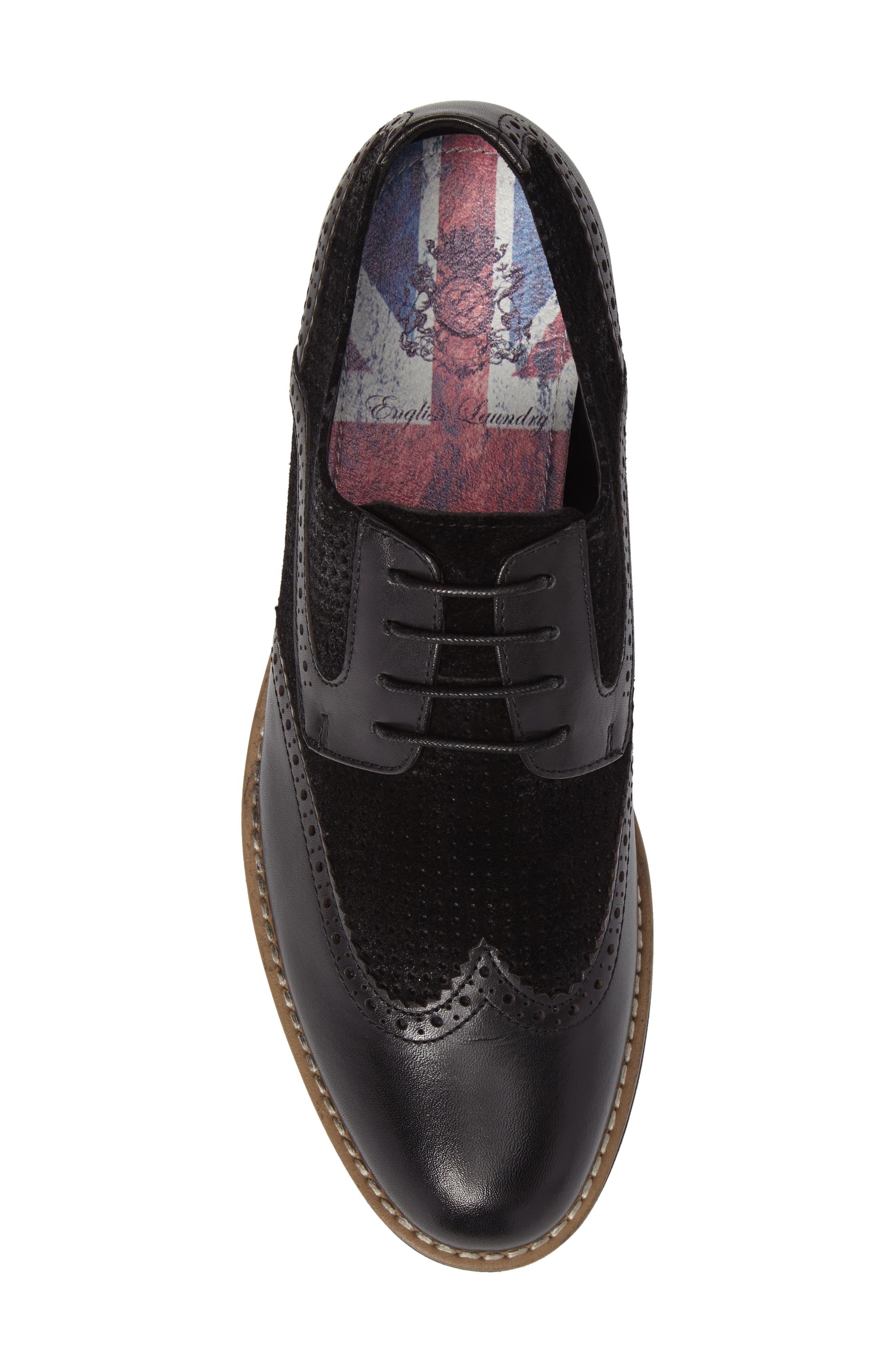 Maritime Spectator Shoe,                             Alternate thumbnail 5, color,                             Black Leather