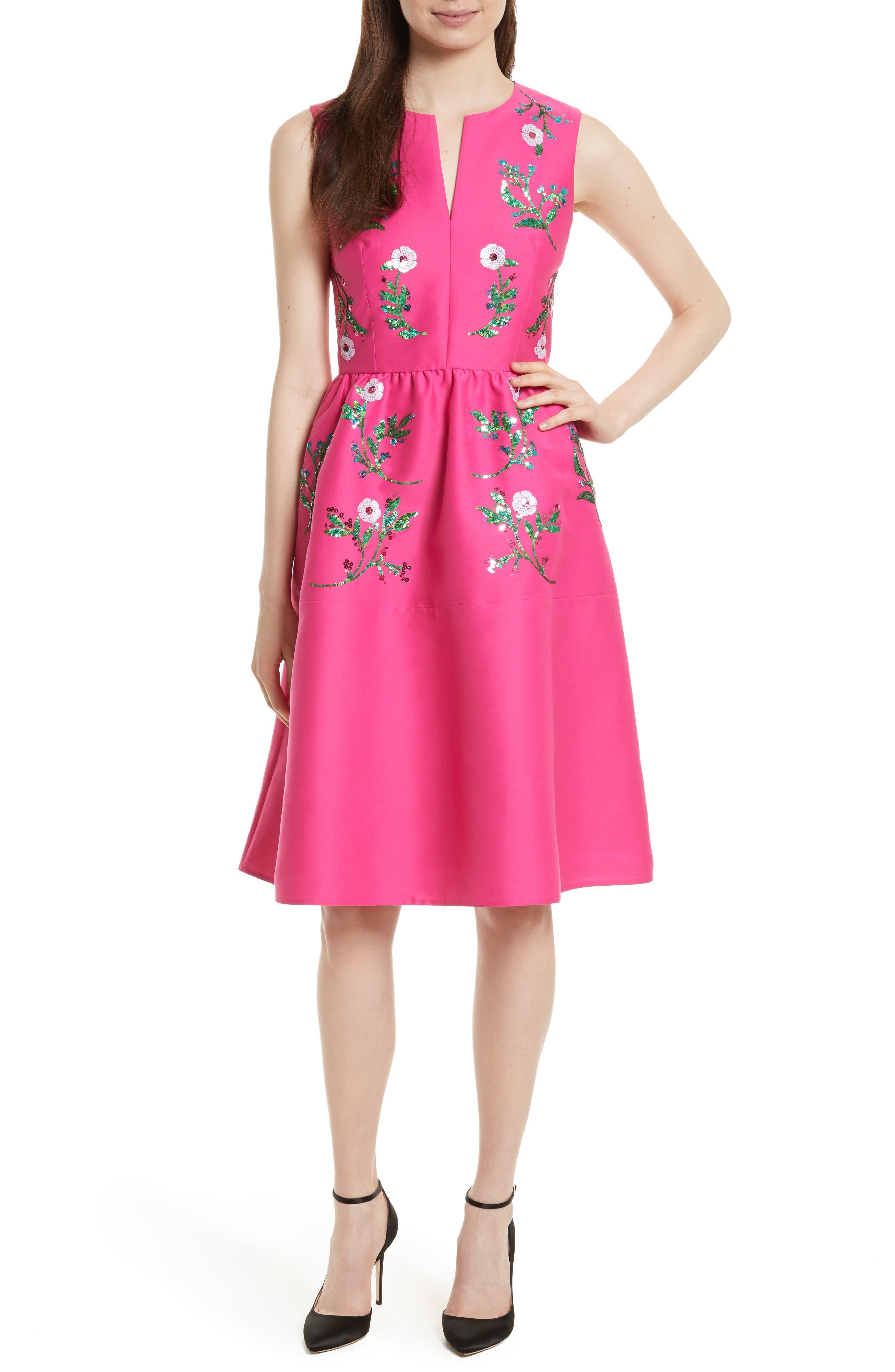 Main Image - kate spade new york floral embellished fit & flare dress