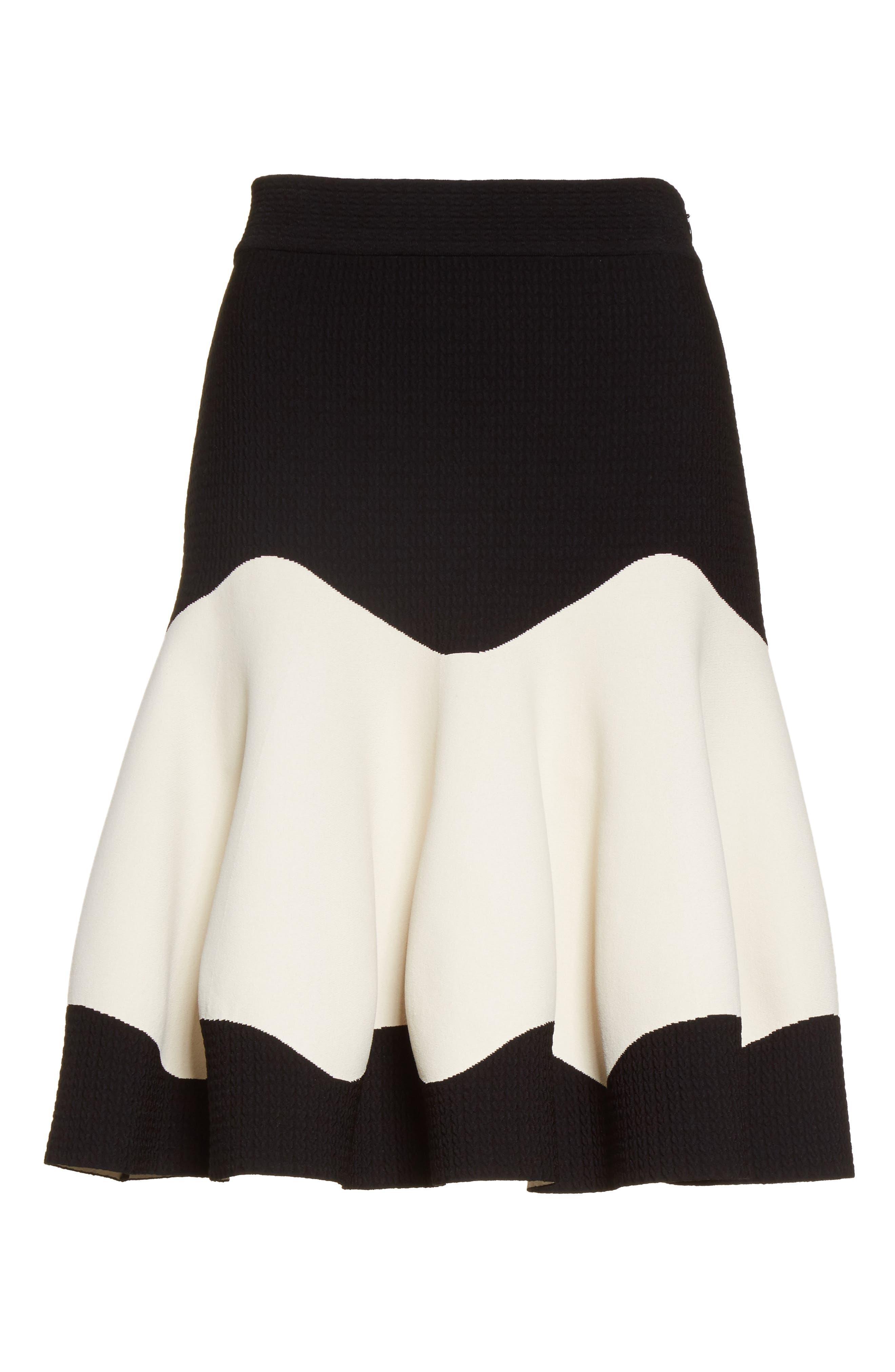 Bicolor Contrast Jacquard Flounce Skirt,                             Alternate thumbnail 4, color,                             Black/ Ivory