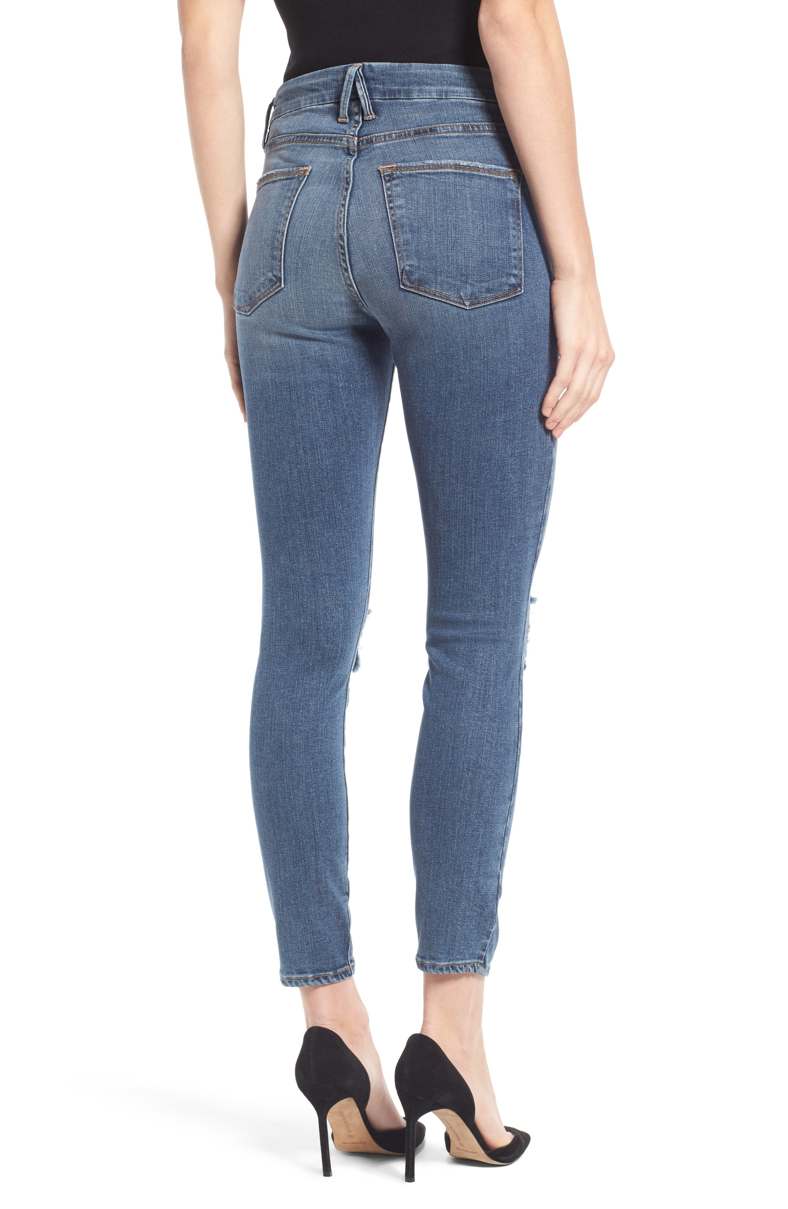 Alternate Image 2  - Good American Good Legs High Waist Ankle Skinny Jeans (Blue 084) (Regular & Plus Size)