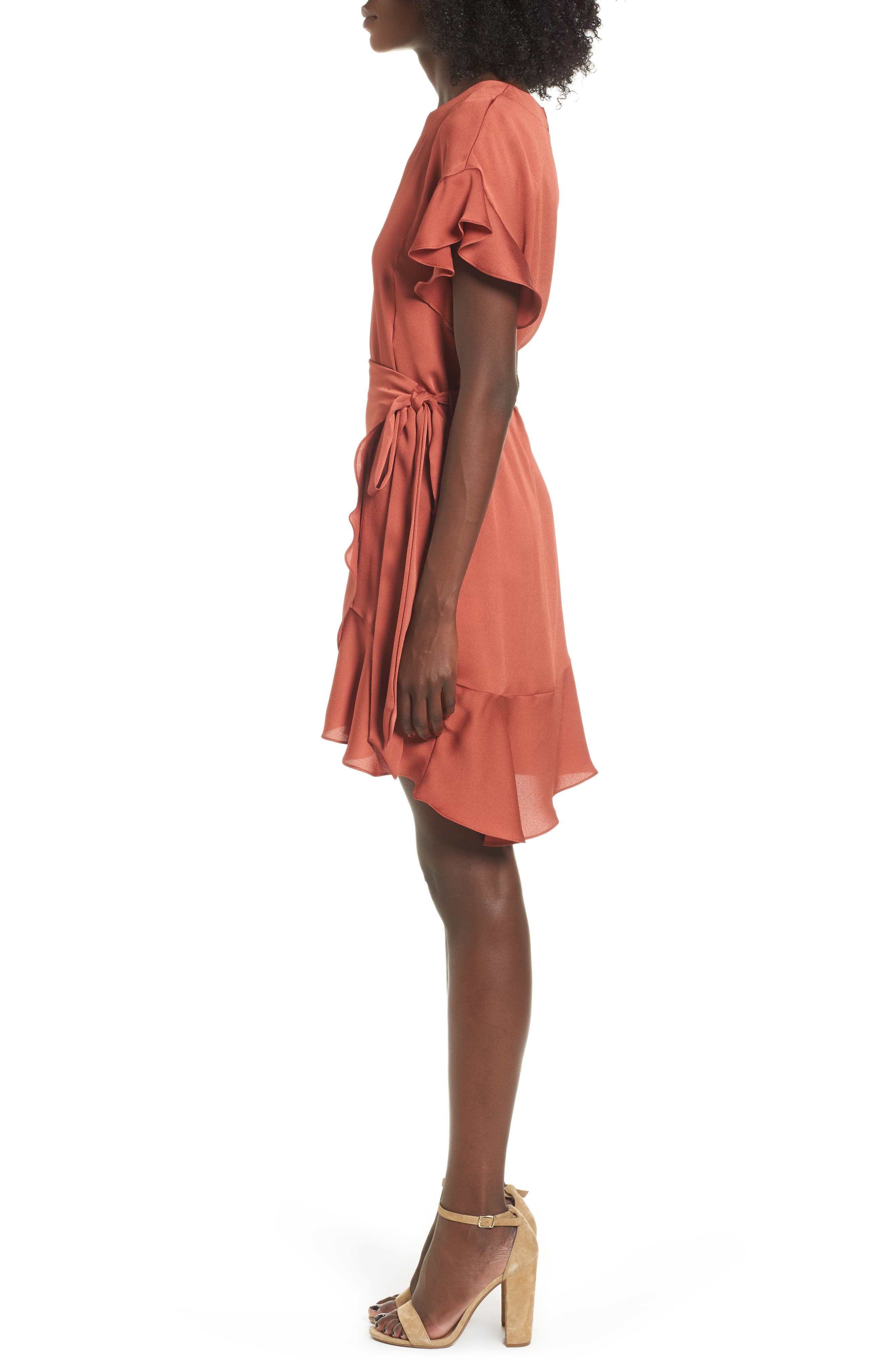 Ruffle Sleeve Satin Dress,                             Alternate thumbnail 3, color,                             Rust Marsala
