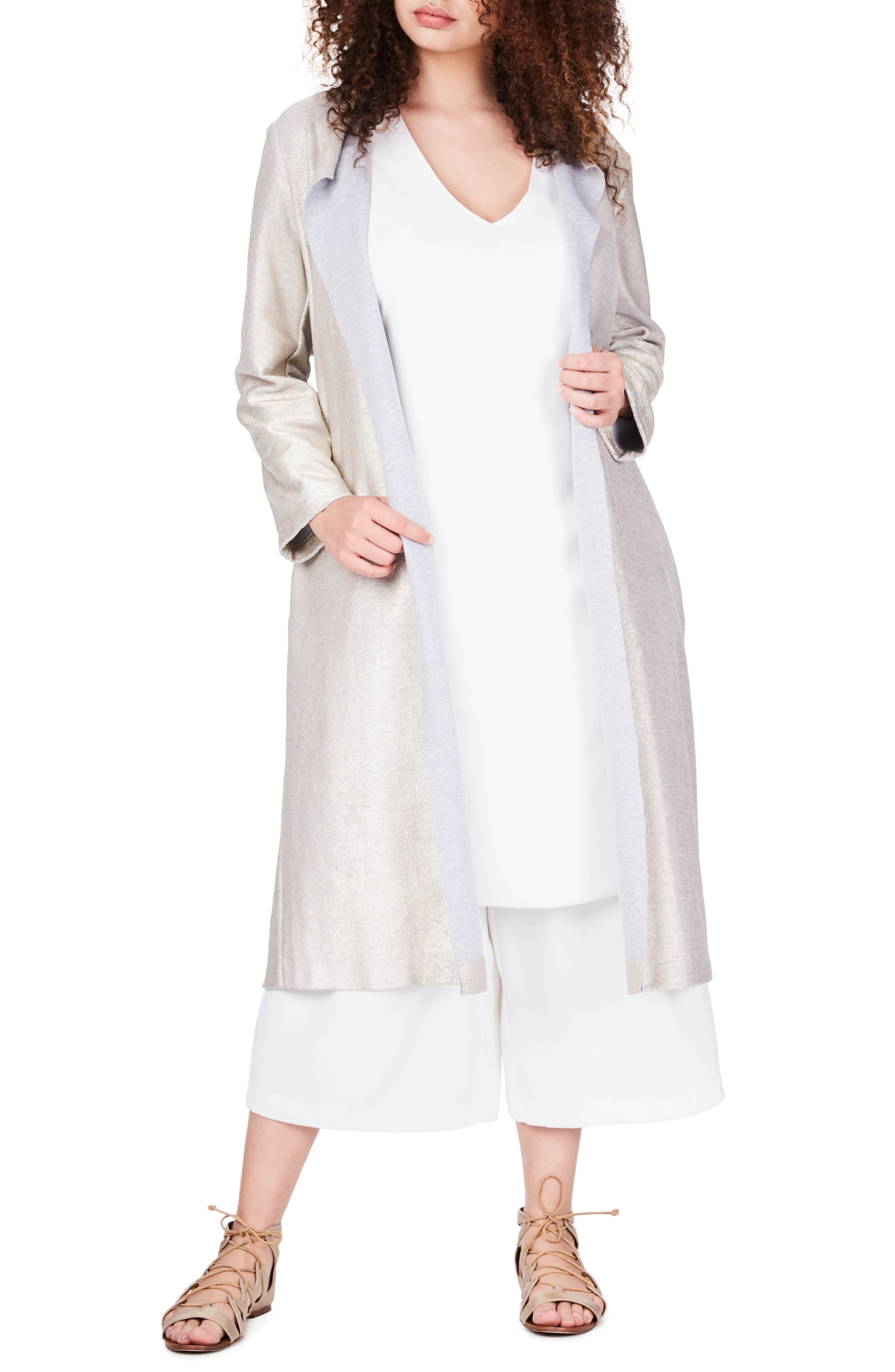 ELVI Metallic Jersey Trench Coat (Plus Size)