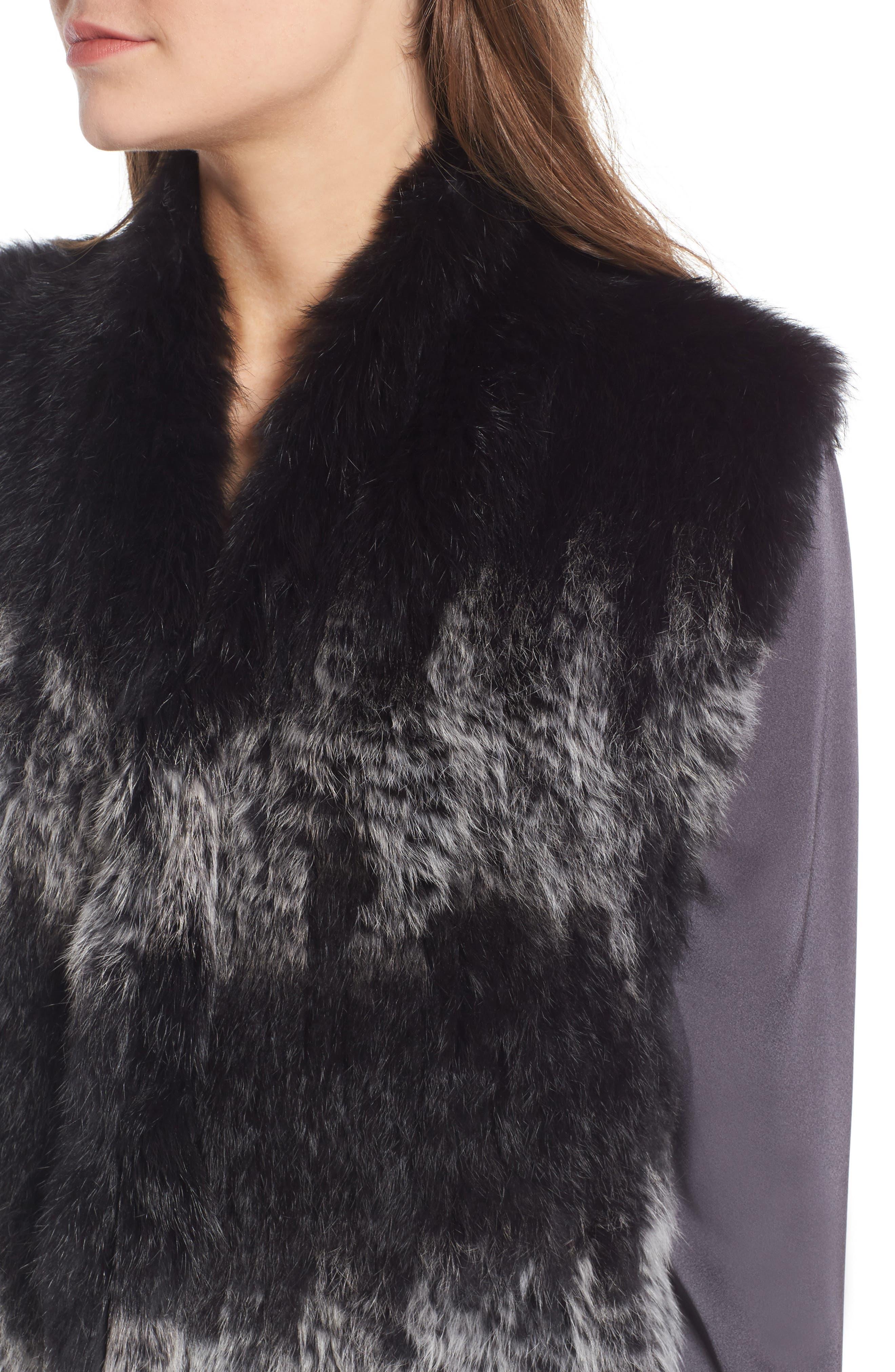 Genuine Rabbit Fur Vest,                             Alternate thumbnail 4, color,                             Black W/ Snow