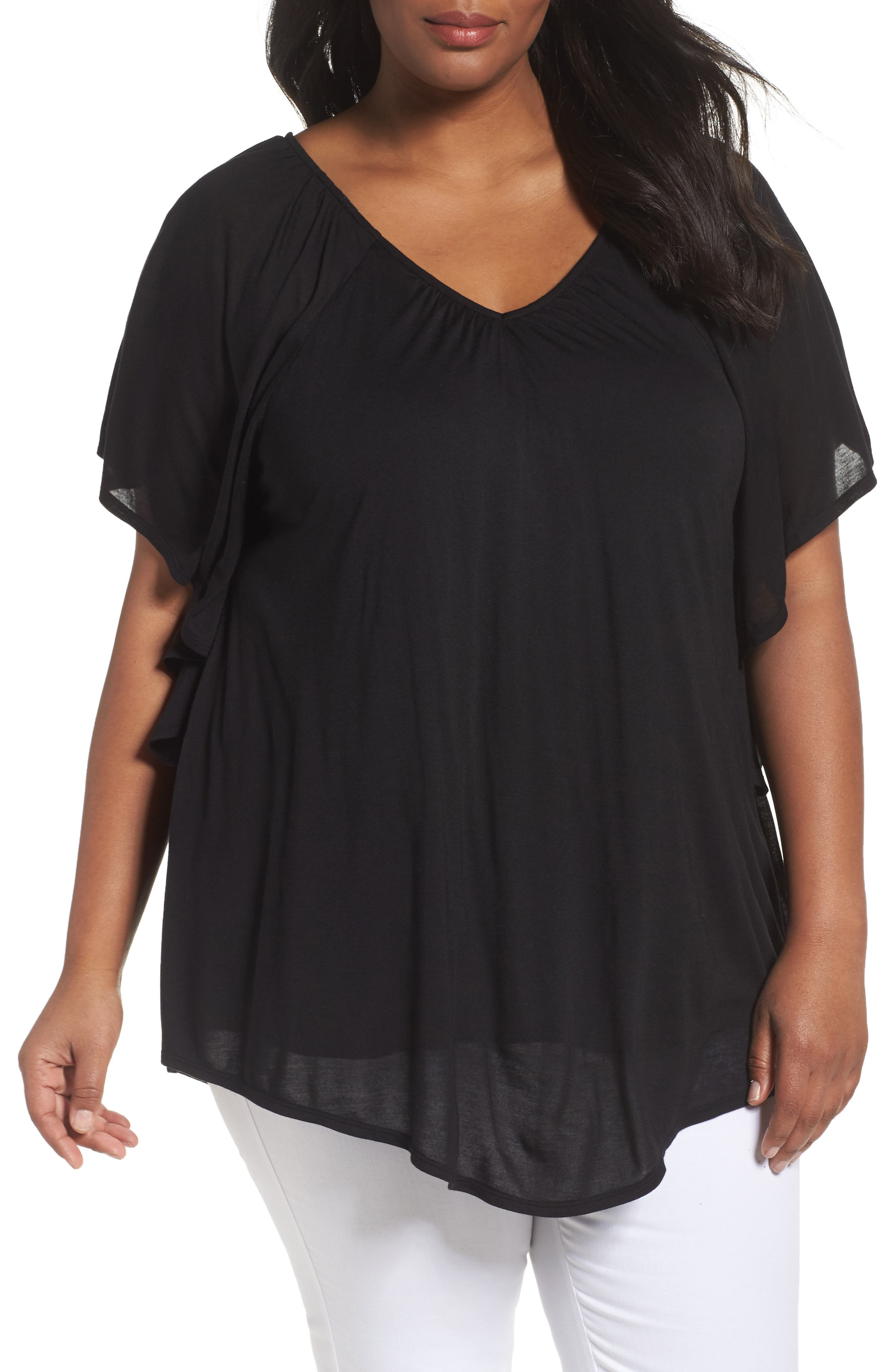 Sejour Ruffle Sleeve Top (Plus Size)