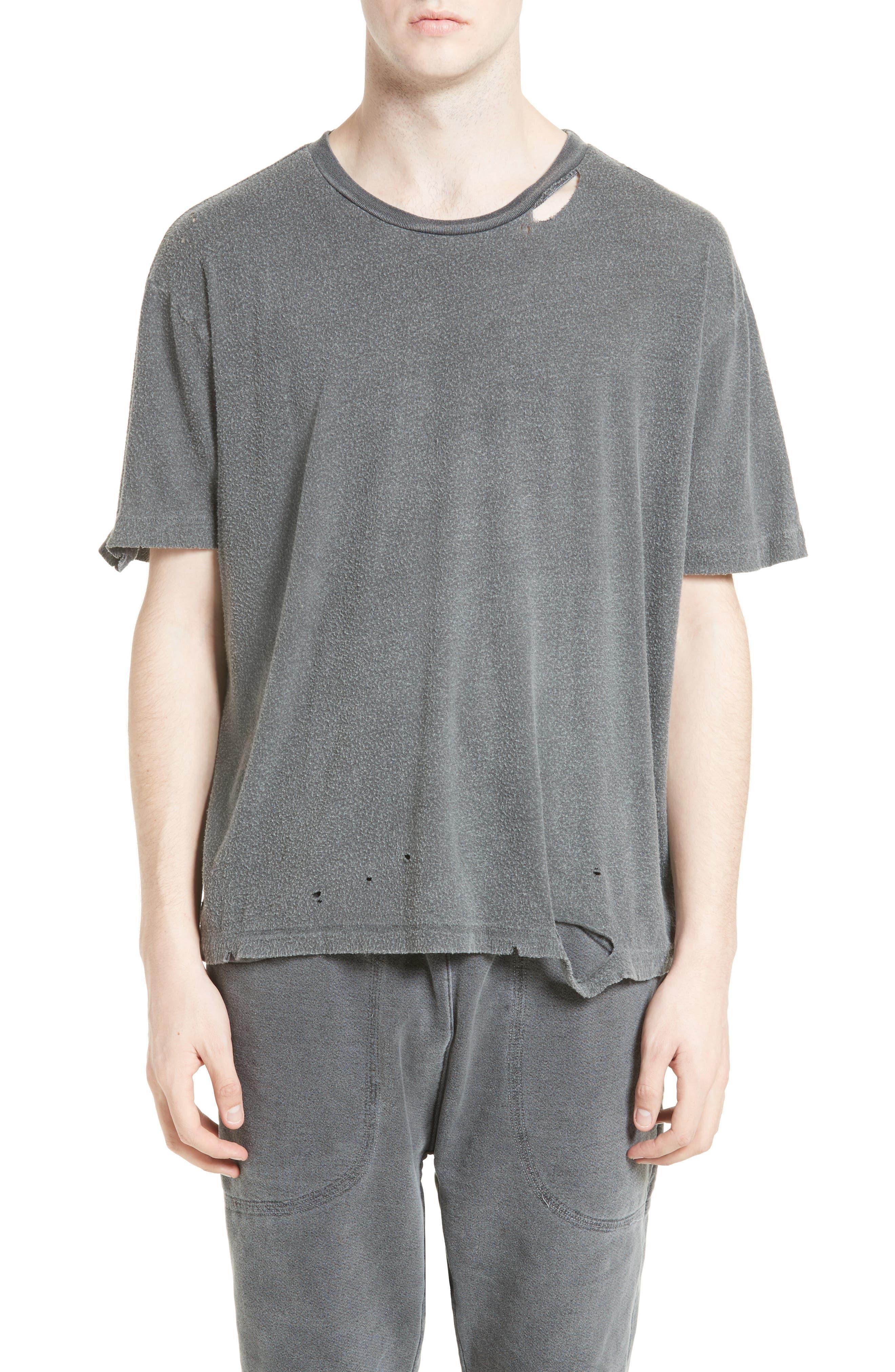 Finnis Destroyed T-Shirt,                         Main,                         color, Washed Black