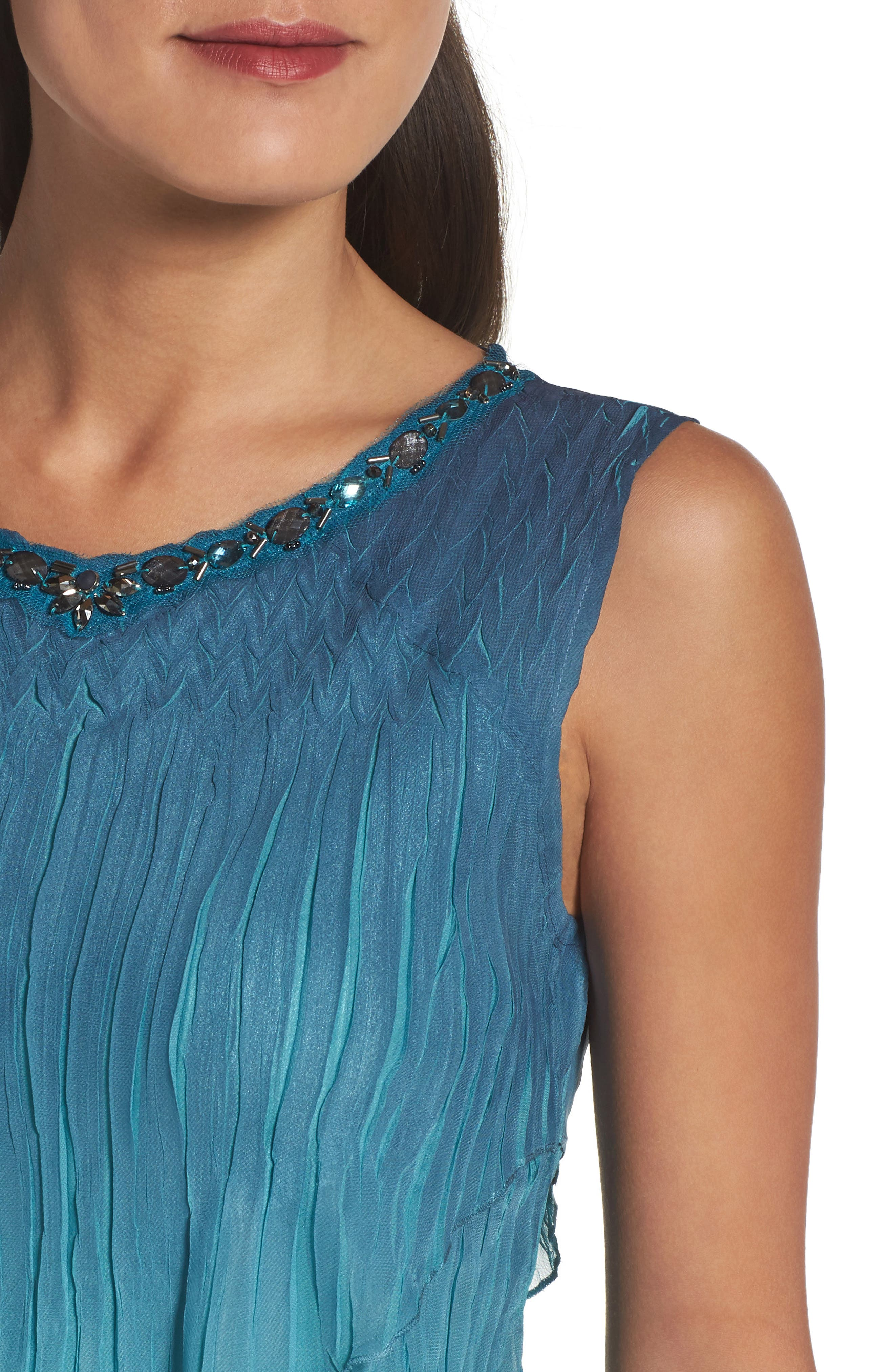Tiered Chiffon Shift Dress with Shawl,                             Alternate thumbnail 4, color,                             Marine Night Ombre