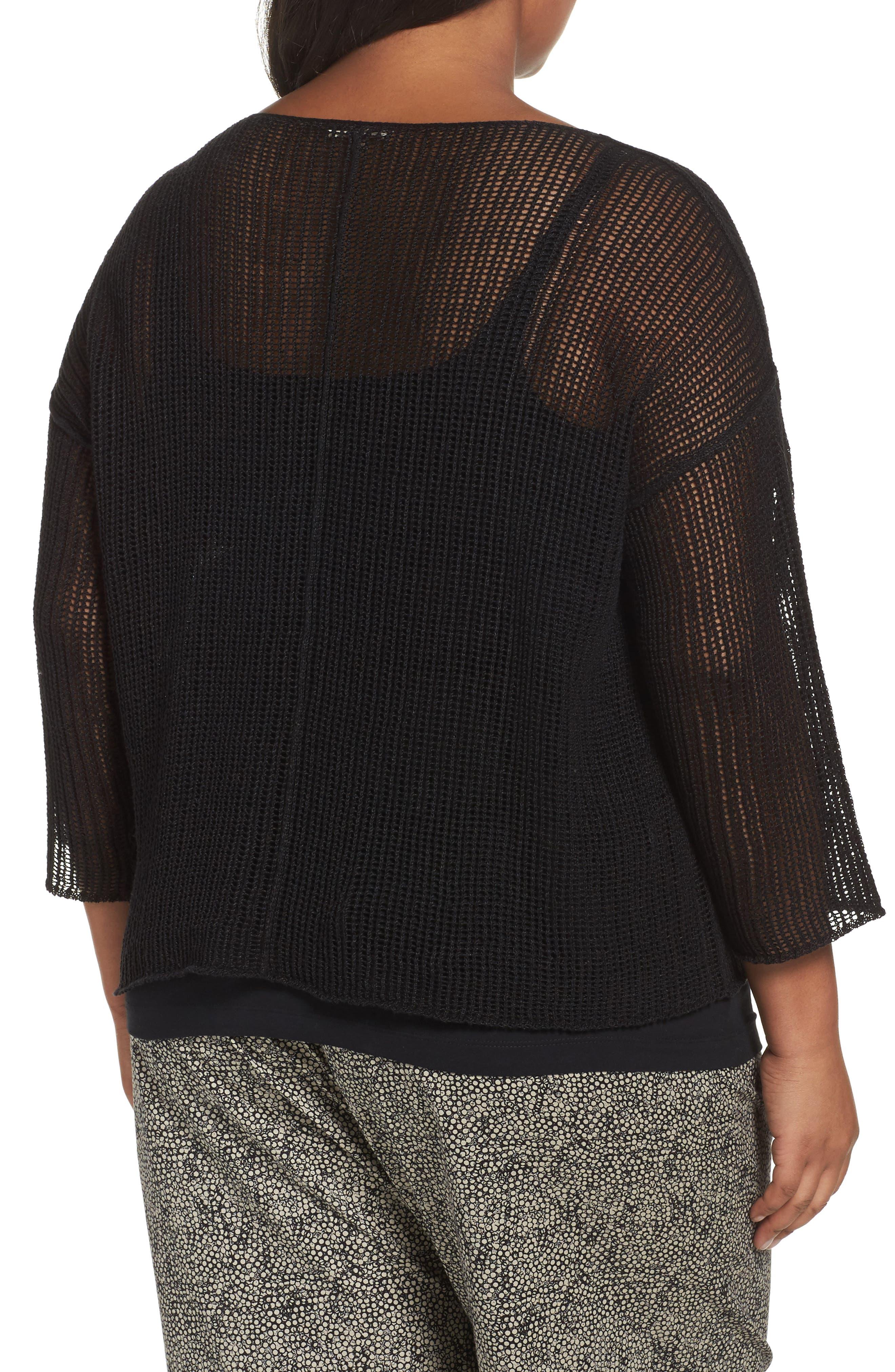 Organic Linen Mesh Knit Top,                             Alternate thumbnail 2, color,                             Black