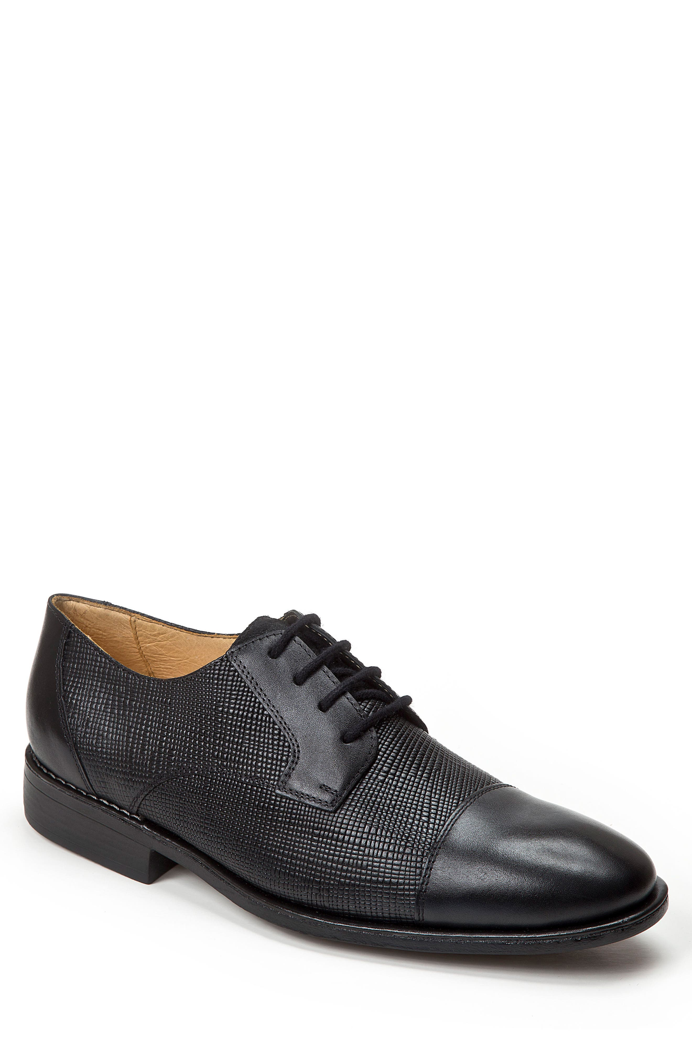 Ronny Embossed Cap Toe Derby,                             Main thumbnail 1, color,                             Black Leather