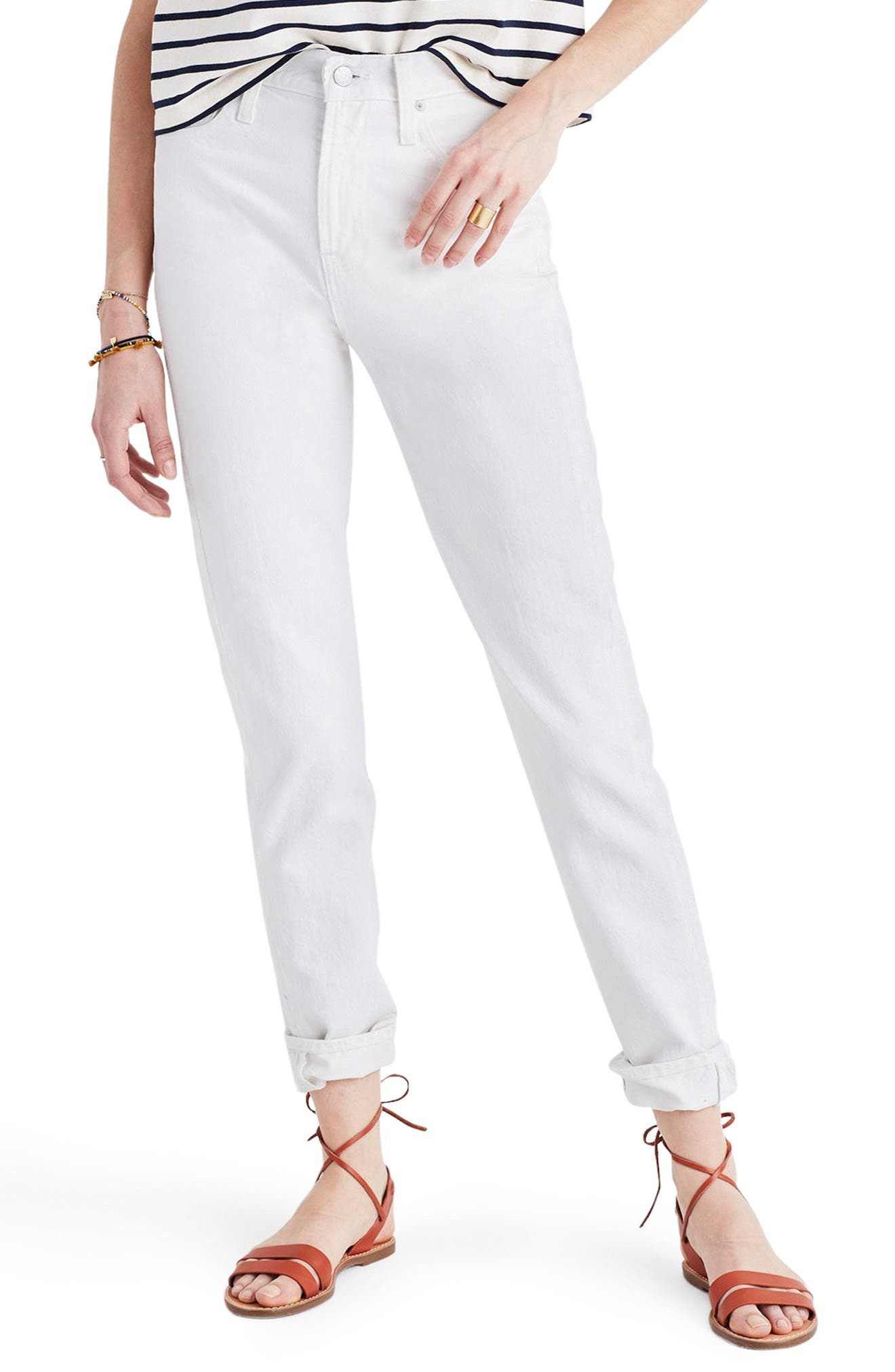 Alternate Image 1 Selected - Madewell Perfect Summer High Waist Ankle Jeans (Tile White)