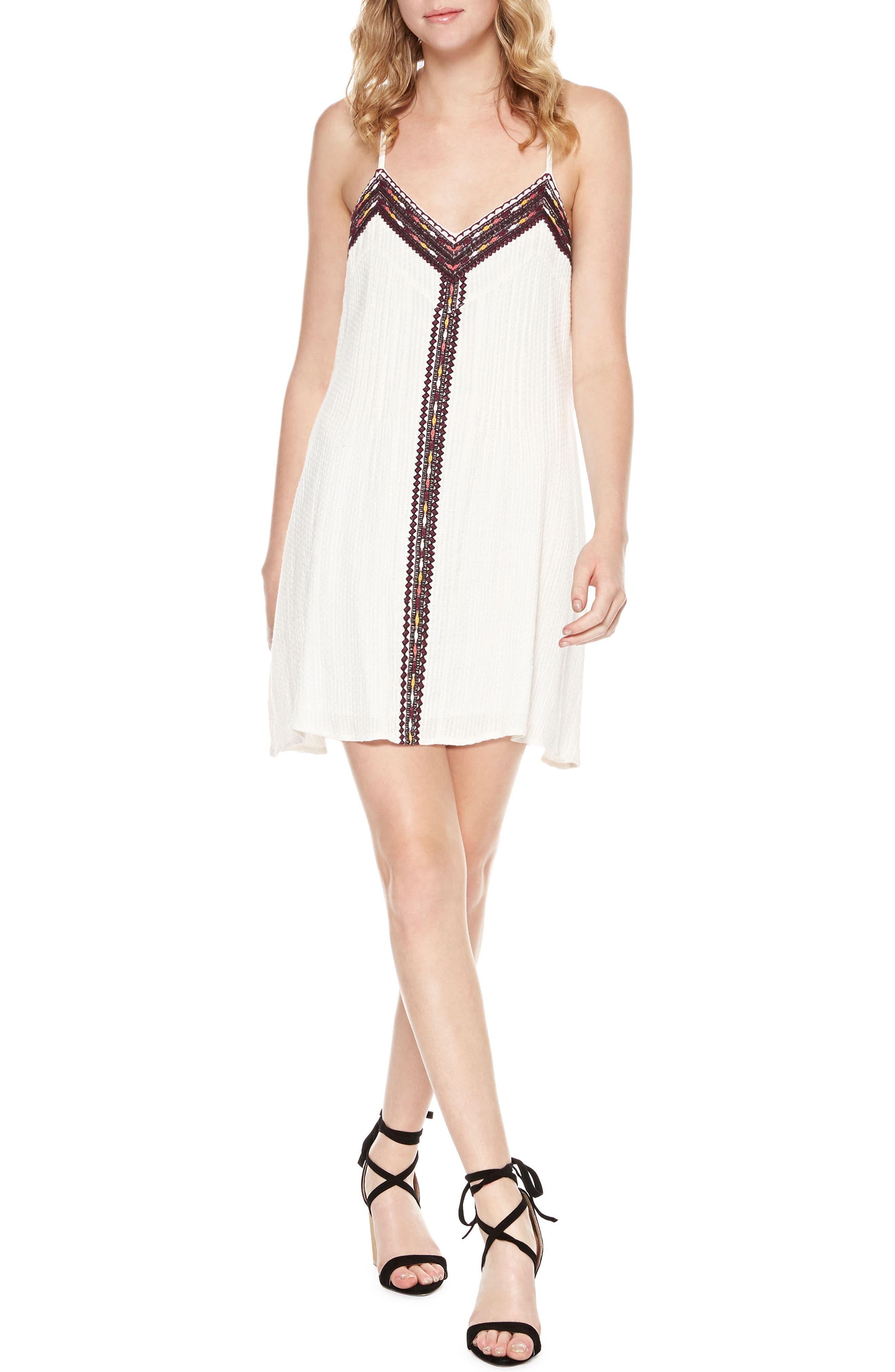 Maya Embroidered Cotton Slipdress,                         Main,                         color, Light Dune