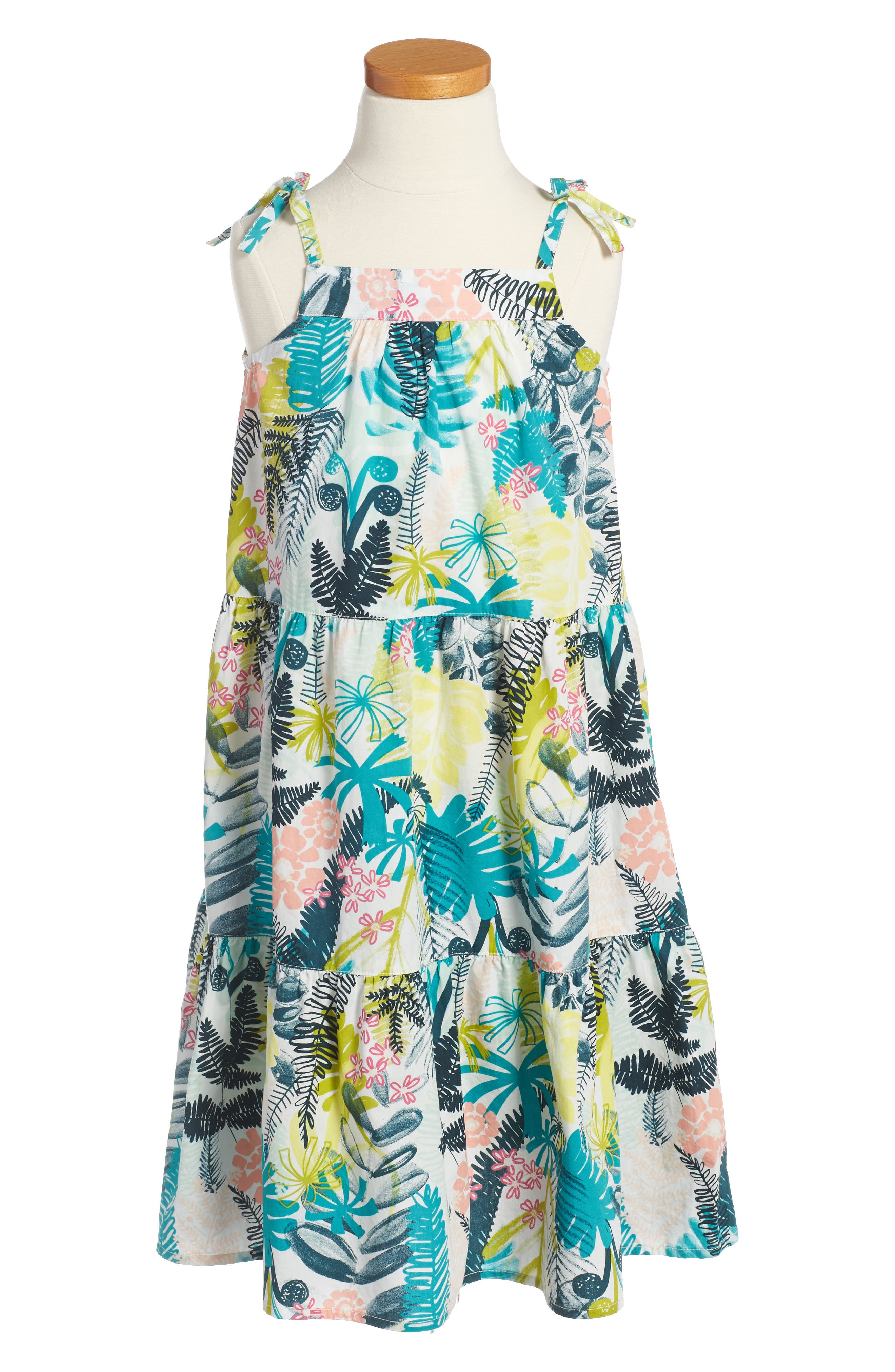 Wujal Wujal Print Tiered Sundress,                         Main,                         color, Chalk