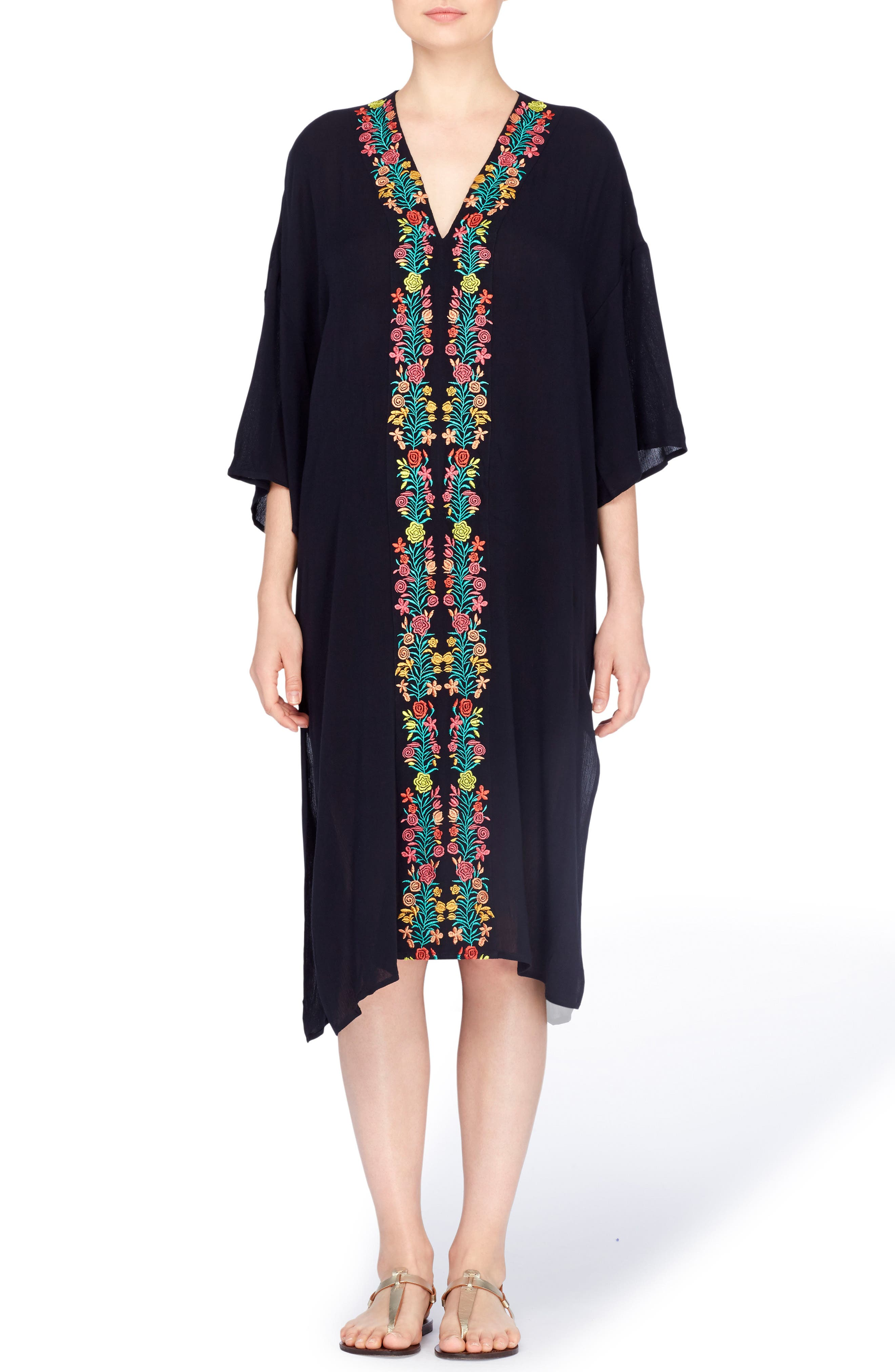 Shinta Embroidered Caftan,                         Main,                         color, Black Beauty