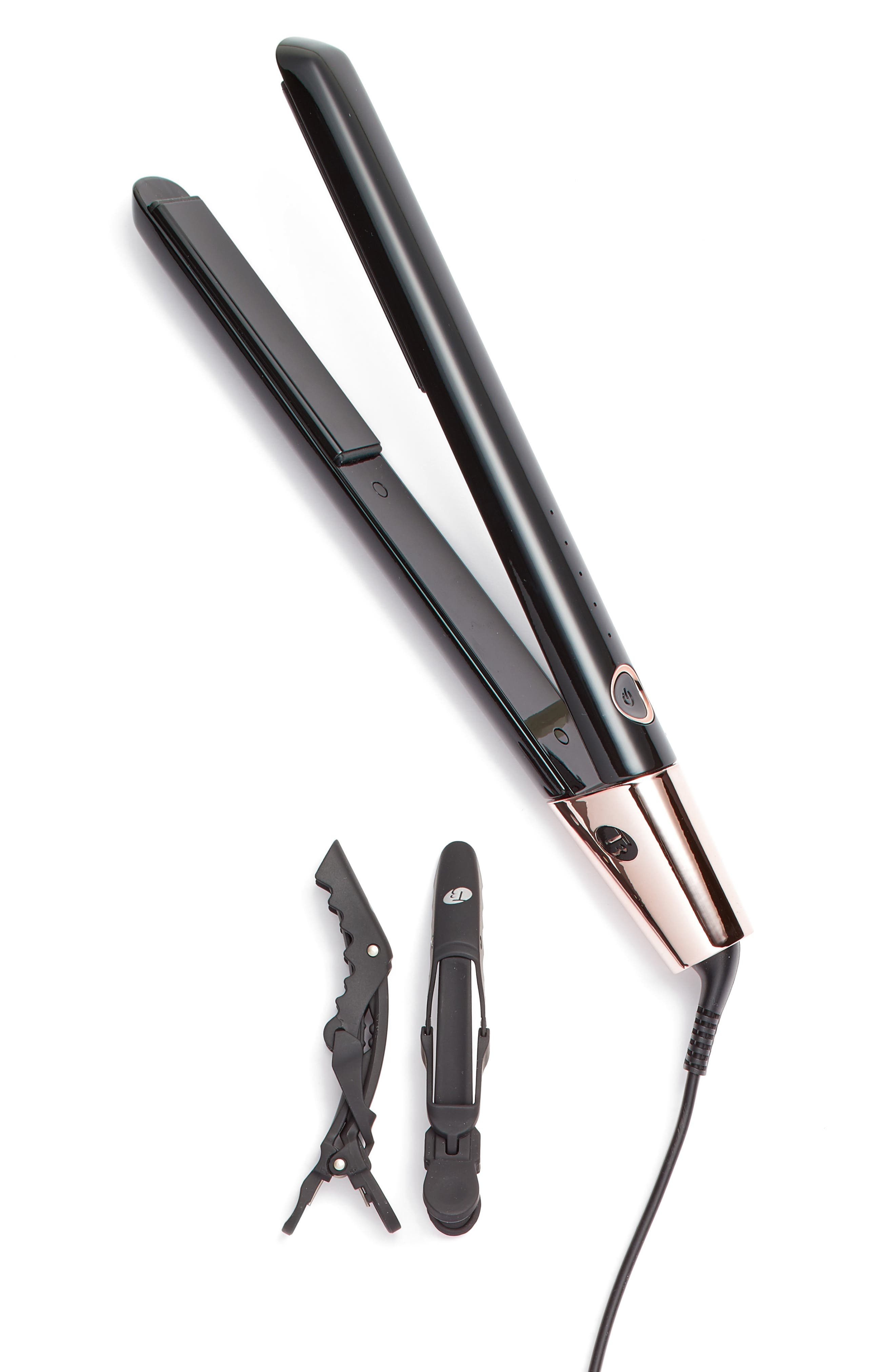 Black & Rose Gold SinglePass Luxe 1-Inch Straightening & Styling Iron,                             Main thumbnail 1, color,                             None