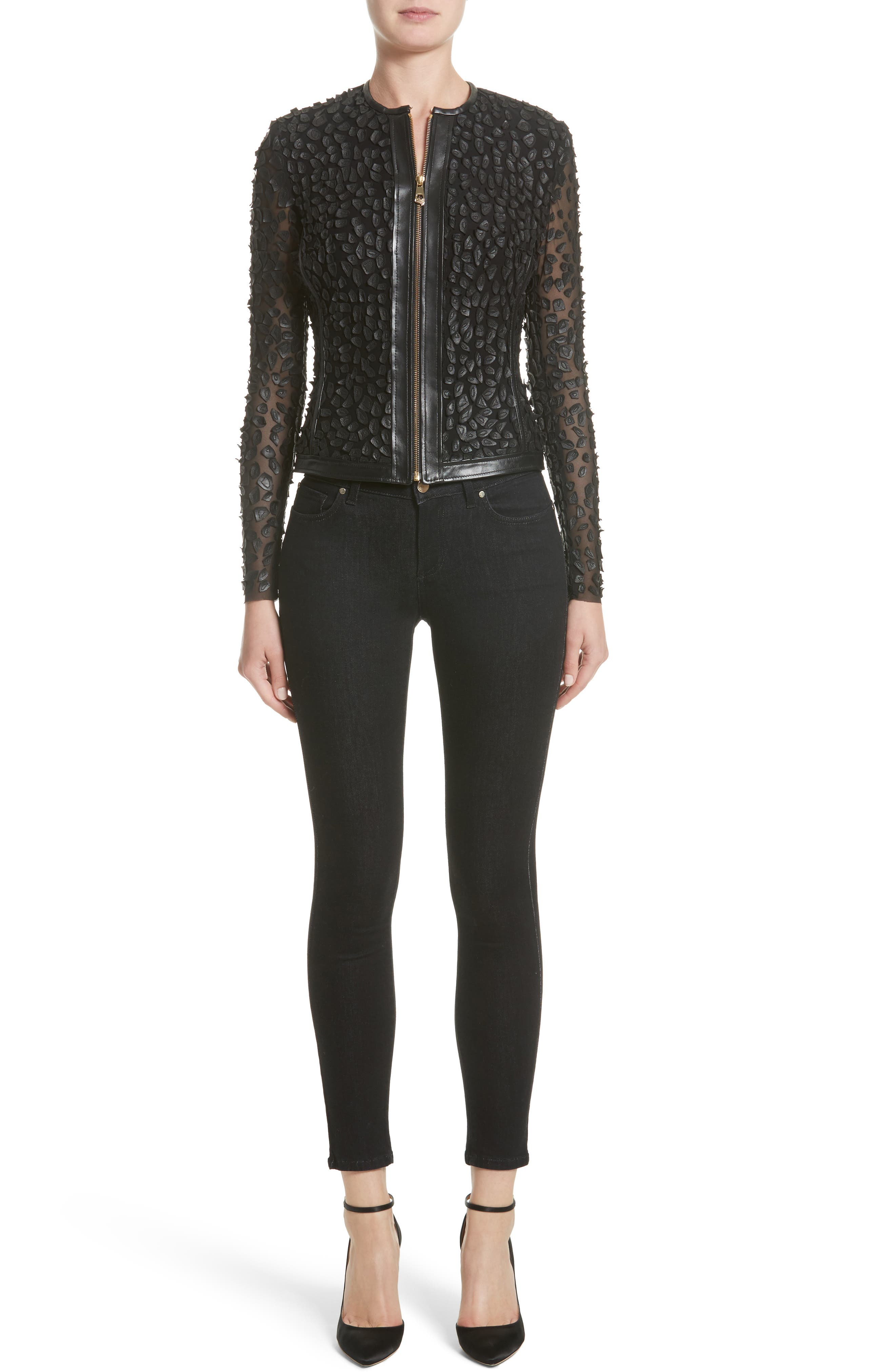 Collection Pieced Leather Jacket,                             Alternate thumbnail 8, color,                             Black
