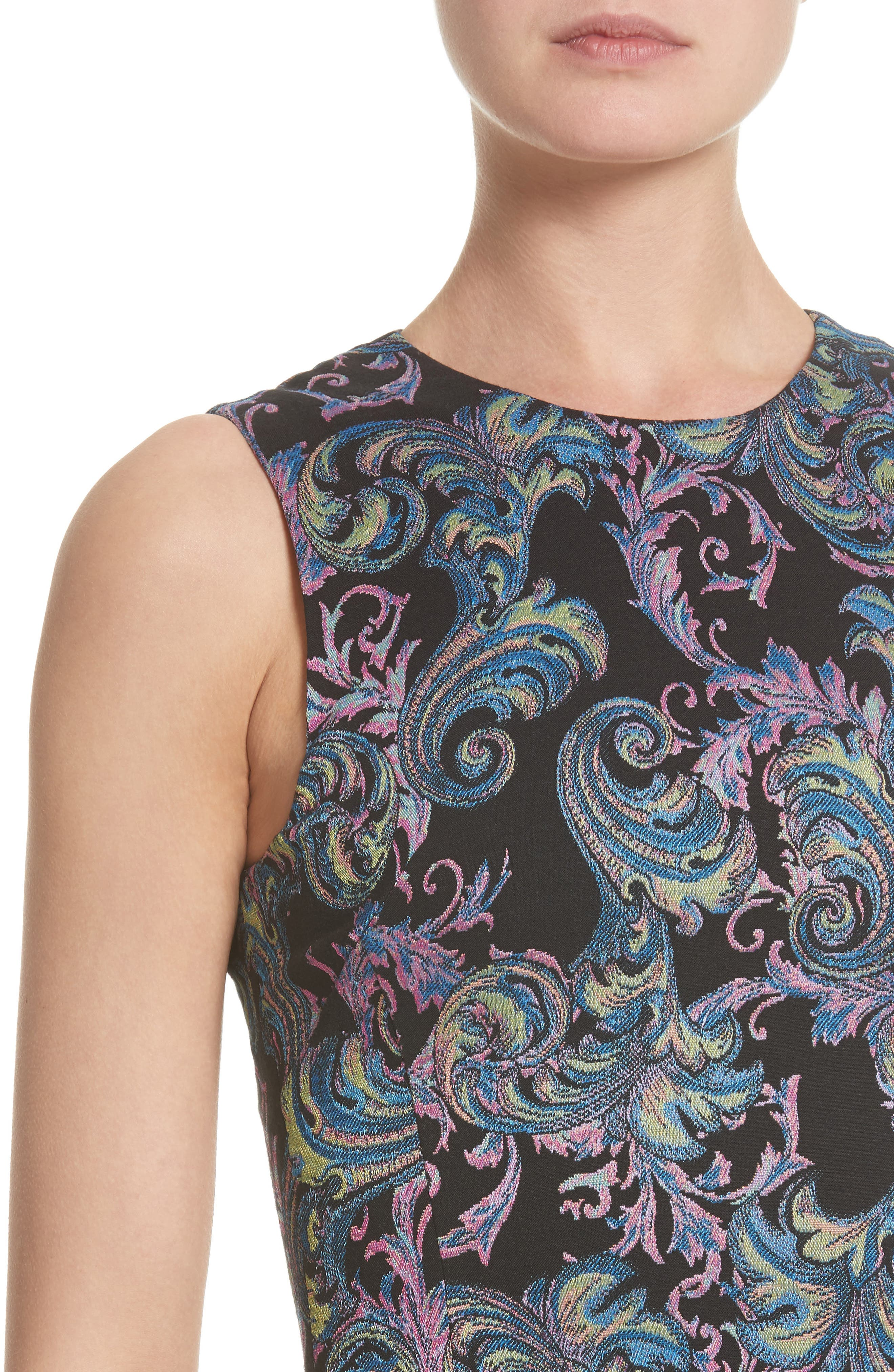 Collection Jacquard Sheath Dress,                             Alternate thumbnail 7, color,                             Black Multi
