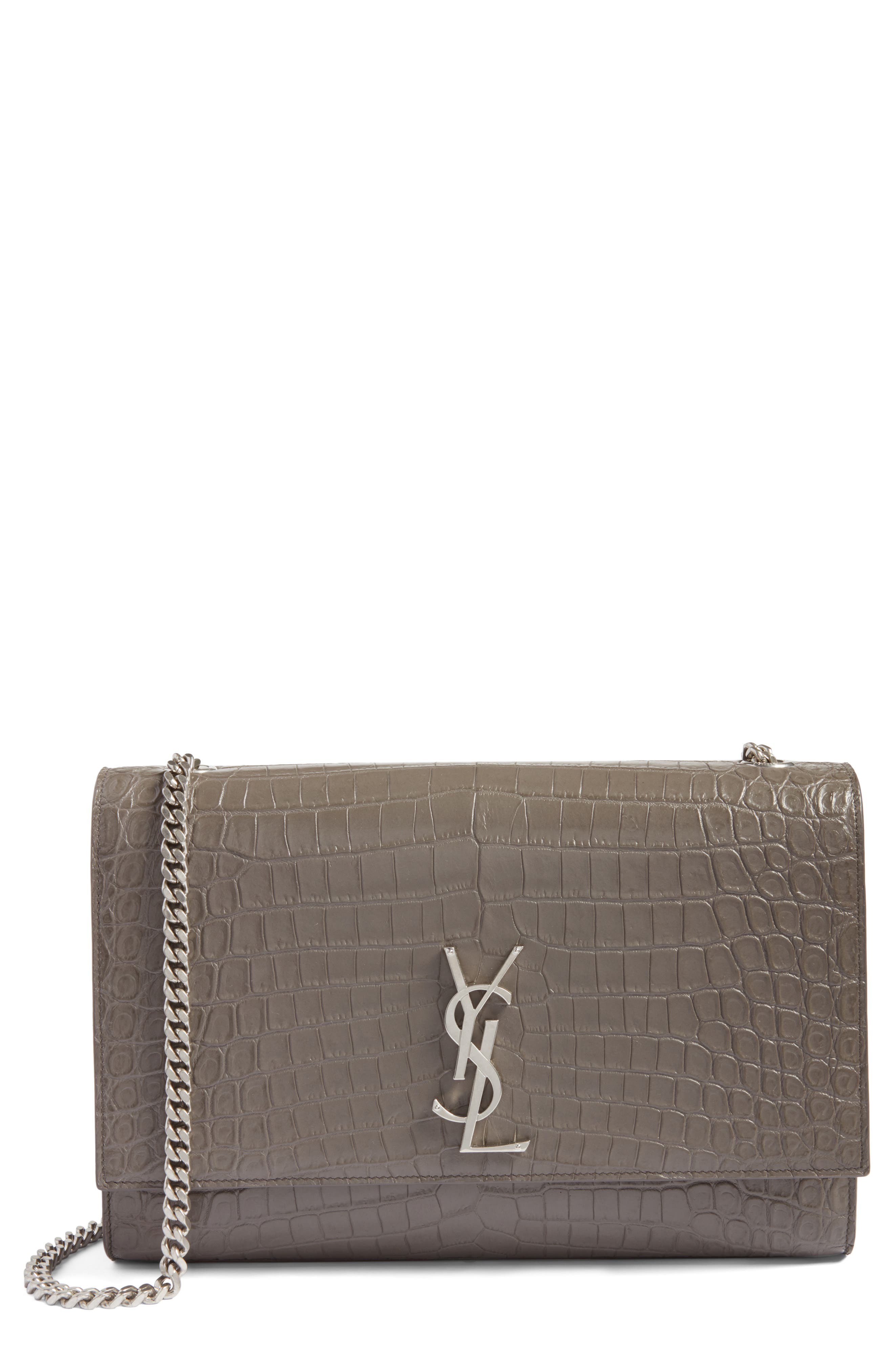 Saint Laurent  LARGE KATE CROC EMBOSSED CALFSKIN LEATHER WALLET ON A CHAIN - GREY