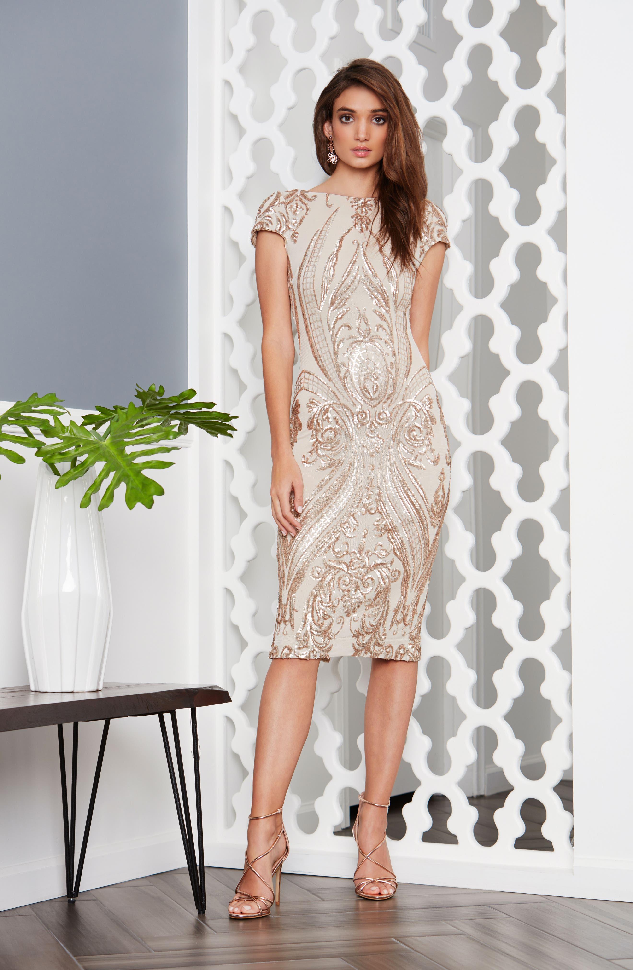 Brandi Sequin Body-Con Dress,                             Alternate thumbnail 2, color,                             Champagne/ Nude