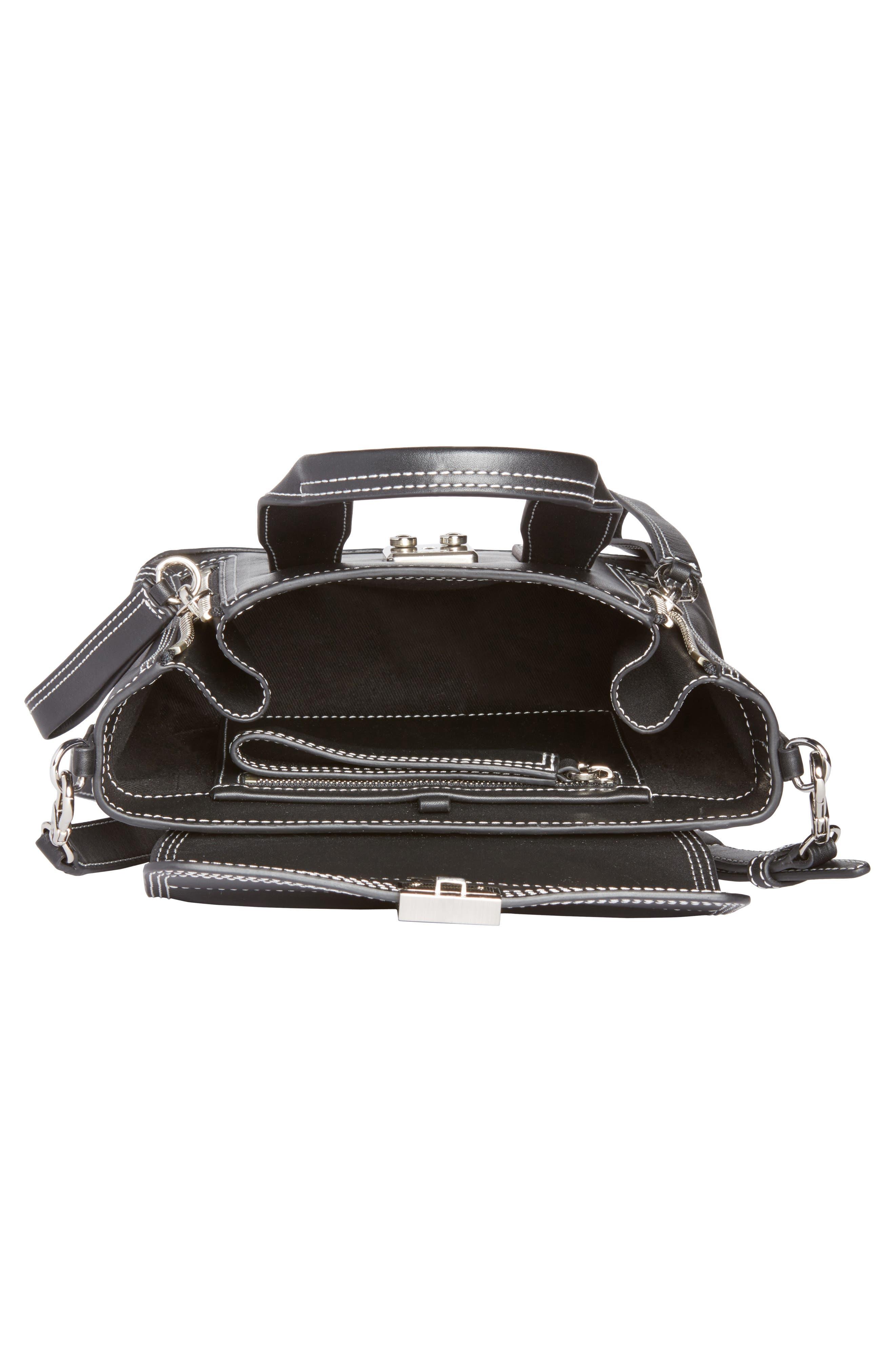 Mini Pashli Leather Satchel,                             Alternate thumbnail 3, color,                             Black