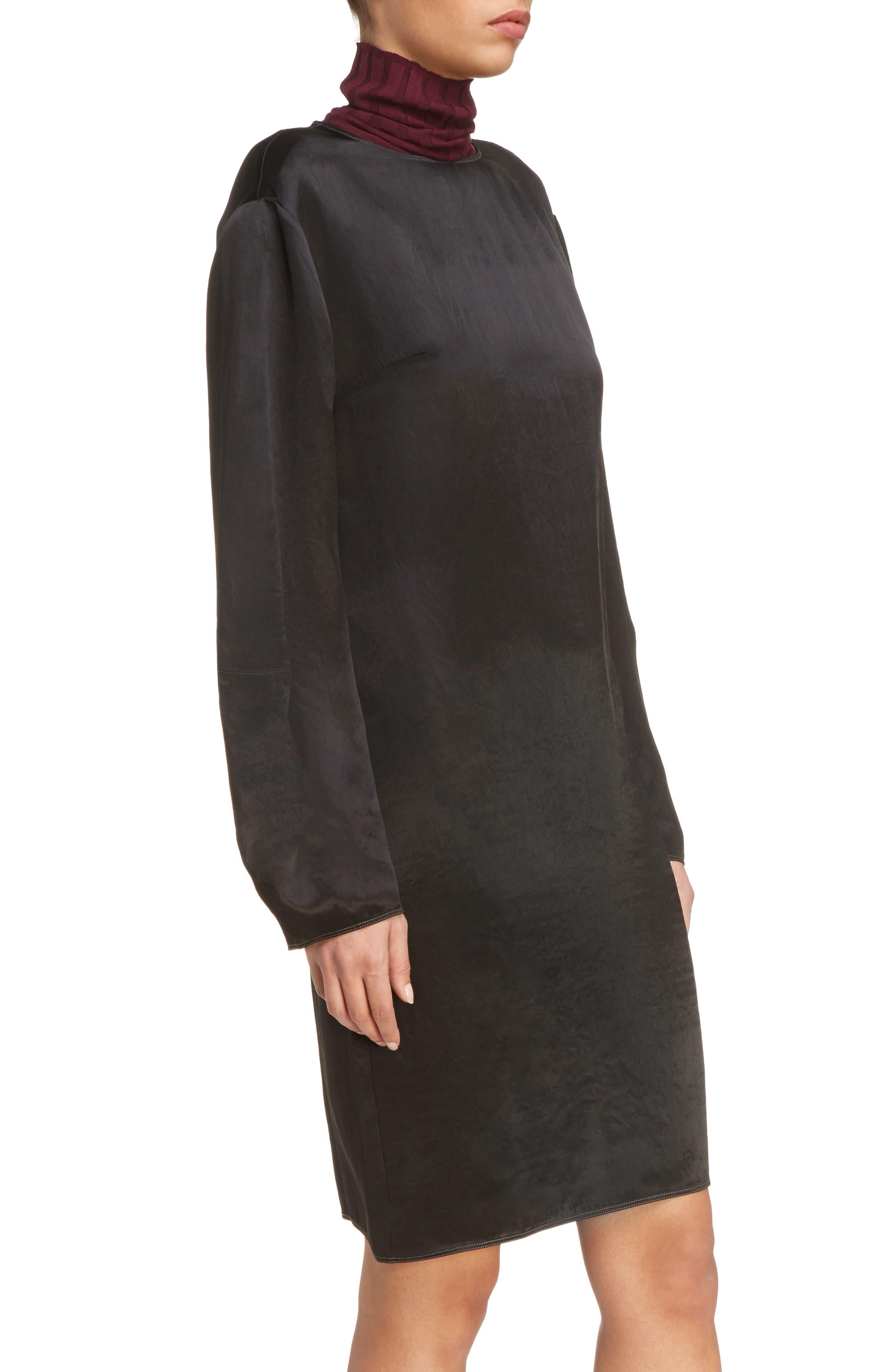 Dorina Flounce Sleeve Dress,                             Alternate thumbnail 4, color,                             Black