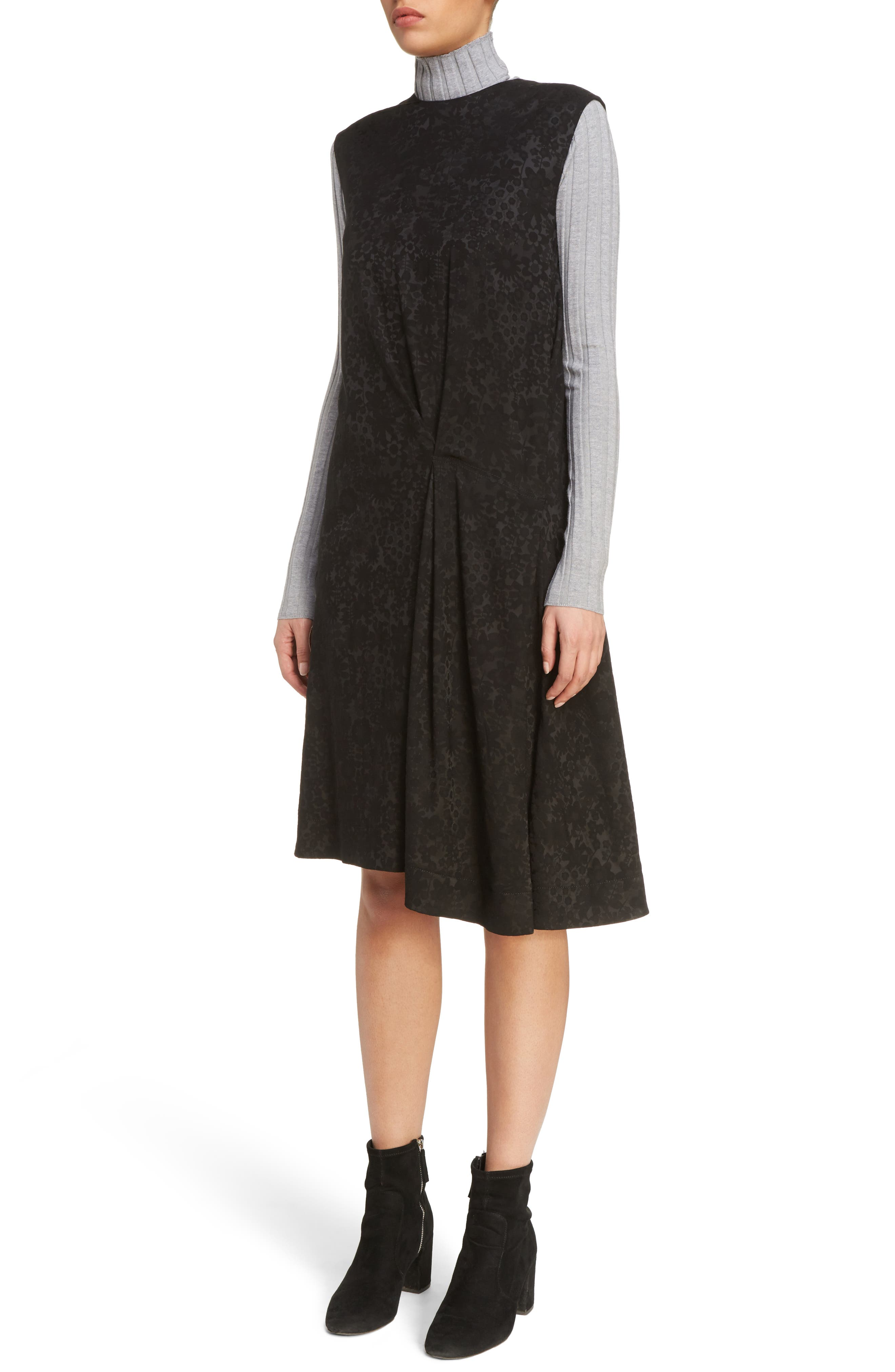 Danya Floral Asymmetrical Hem Dress,                             Alternate thumbnail 4, color,                             Black Floral