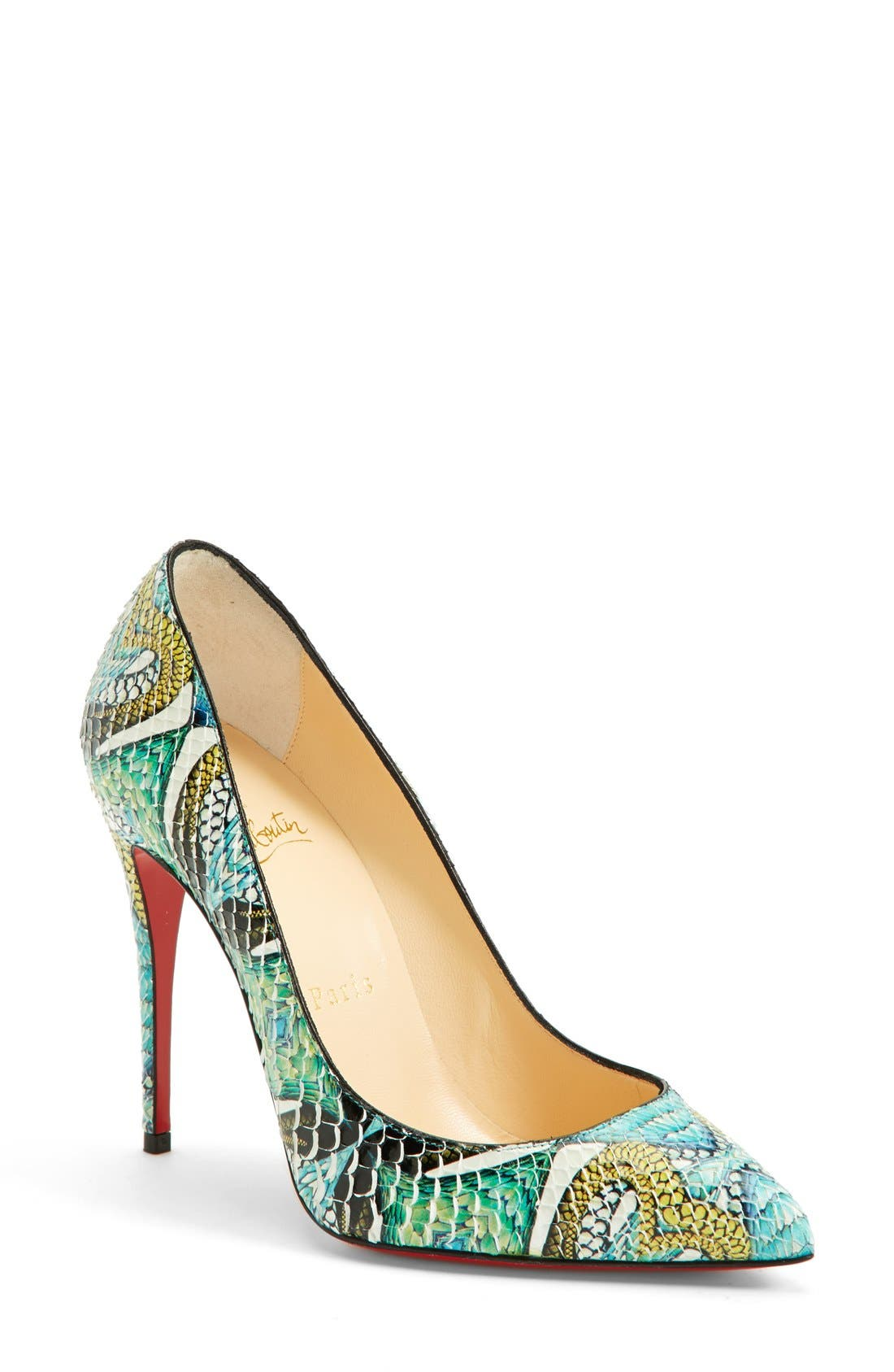Main Image - Christian Louboutin 'Pigalle' Hand Painted Genuine Python Pointy Toe Pump