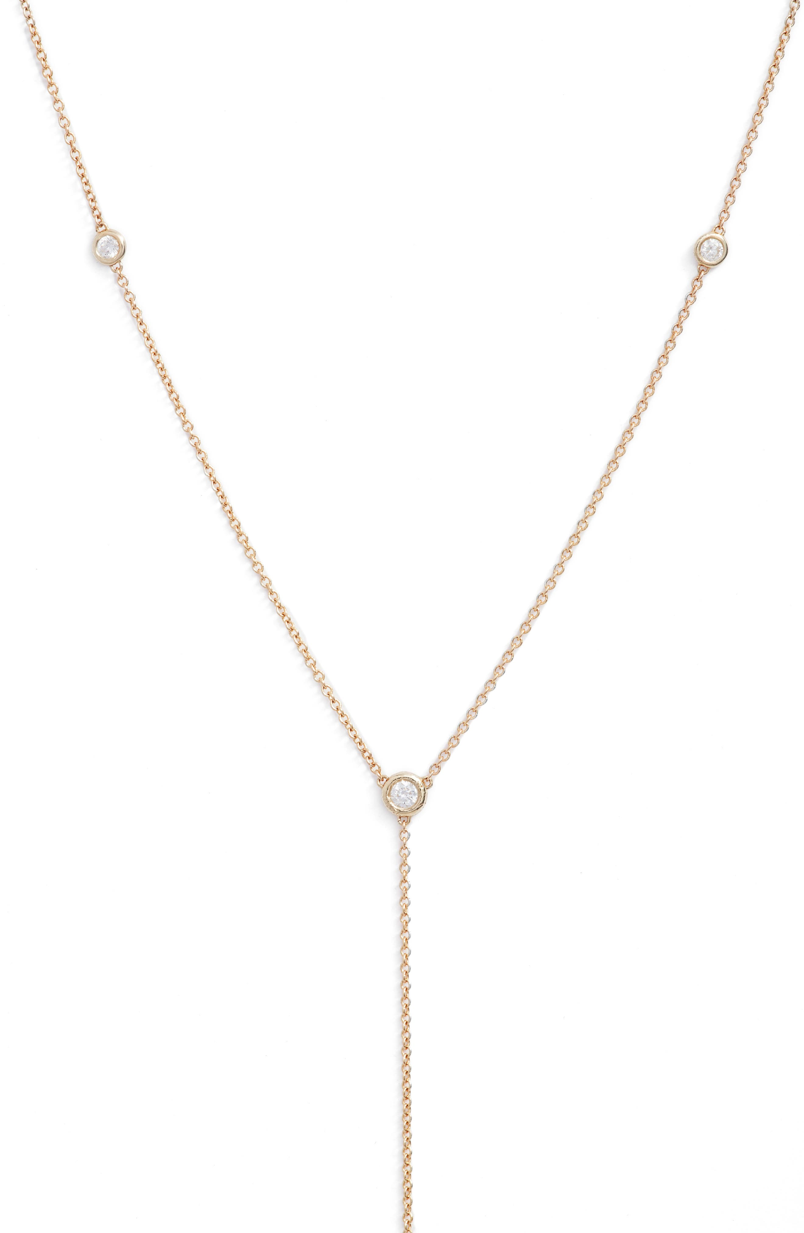 Scattered Diamond Bezel Y-Necklace,                         Main,                         color, Yellow Gold