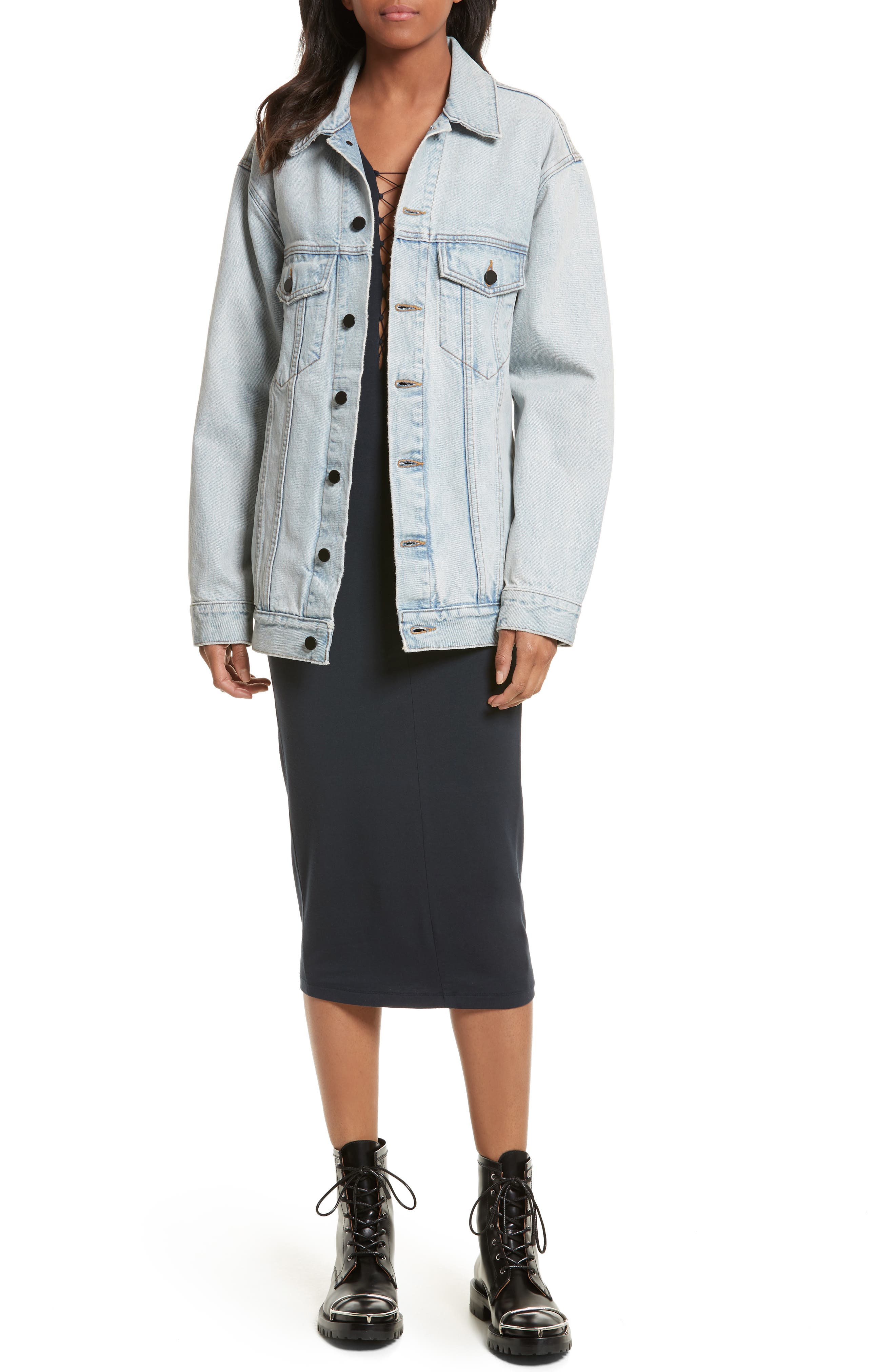 Denim x Alexander Wang Daze Bleach Oversize Denim Jacket,                             Alternate thumbnail 2, color,                             Bleach