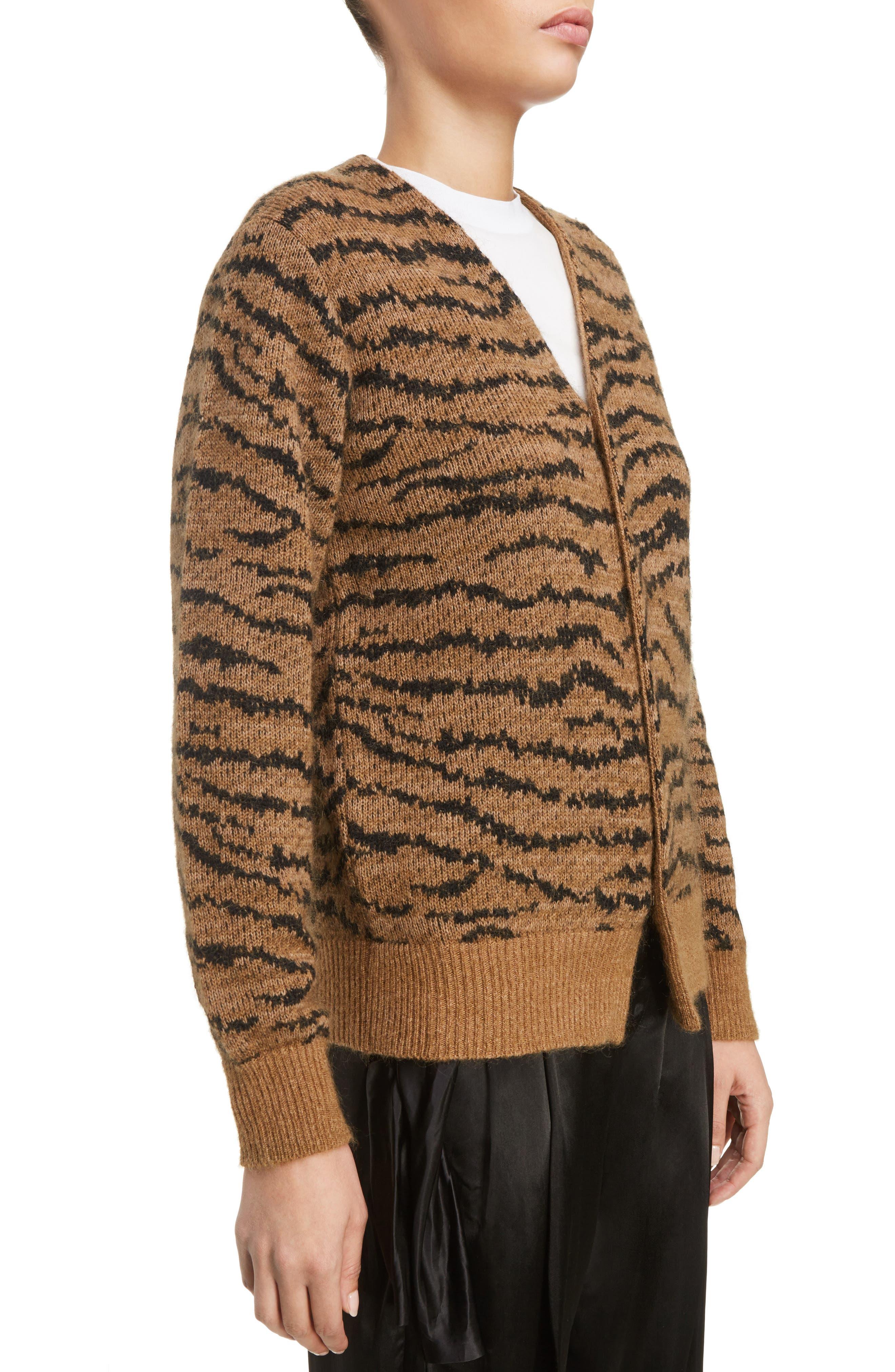 Tiger Jacquard Knit Button Cardigan,                             Alternate thumbnail 5, color,                             Beige