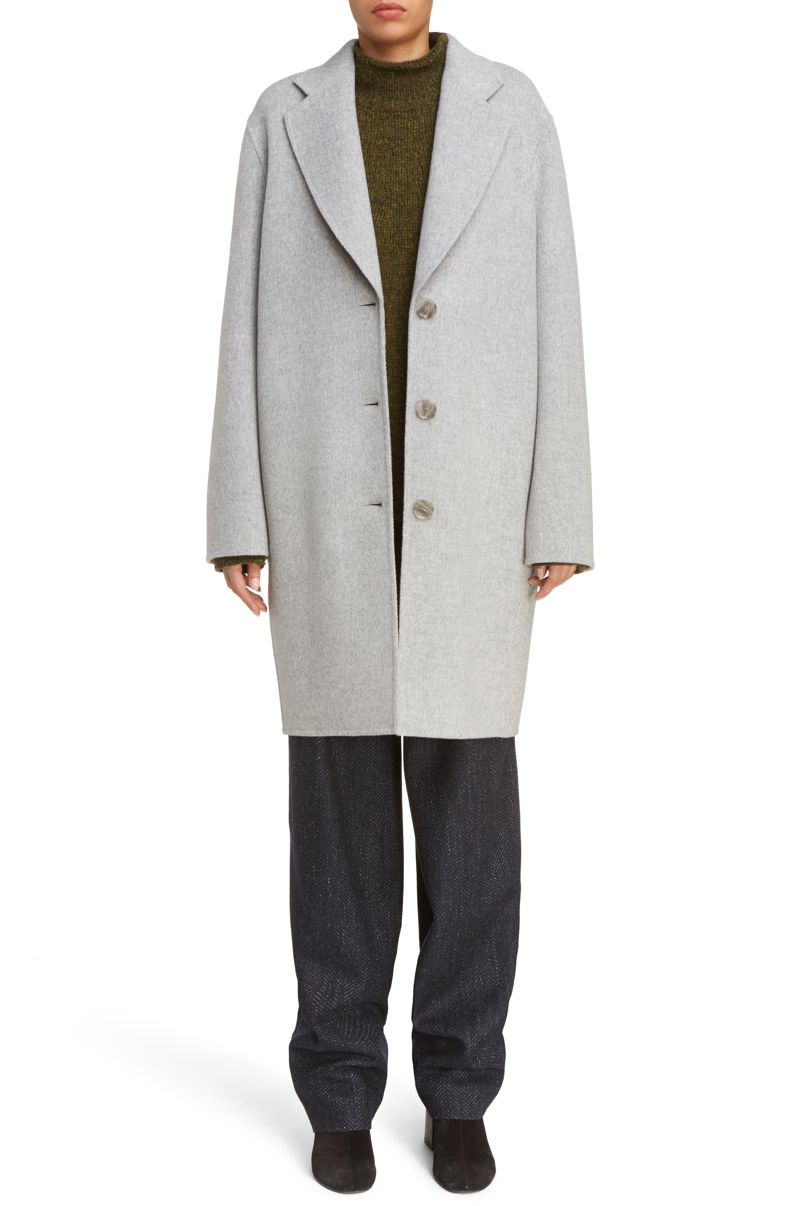 Landi Double Crombie Coat,                         Main,                         color, Grey Melange