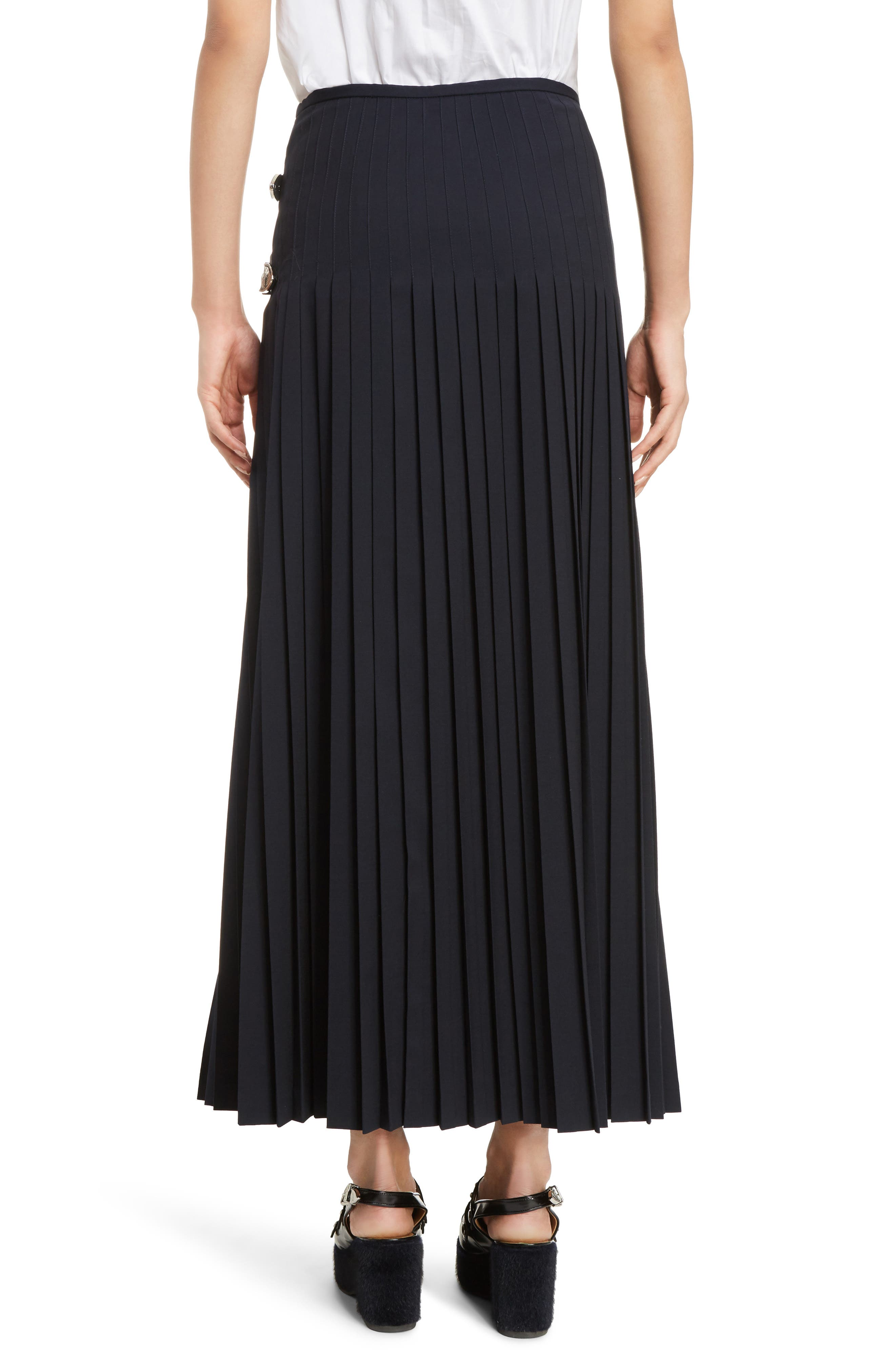 Pleated Wool Blend Skirt,                             Alternate thumbnail 2, color,                             Navy