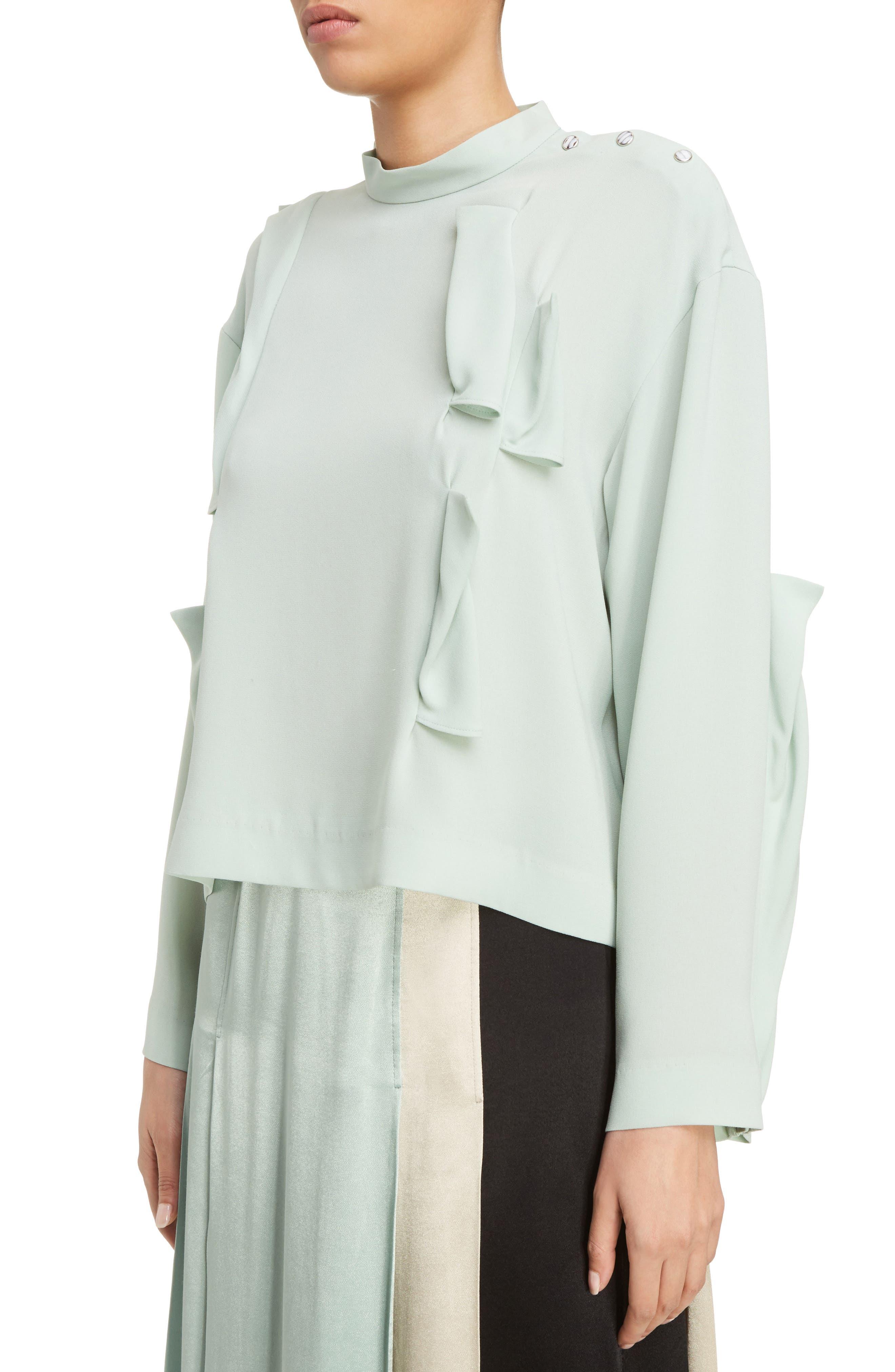 Georgette Satin Shirt,                             Alternate thumbnail 4, color,                             Light Green