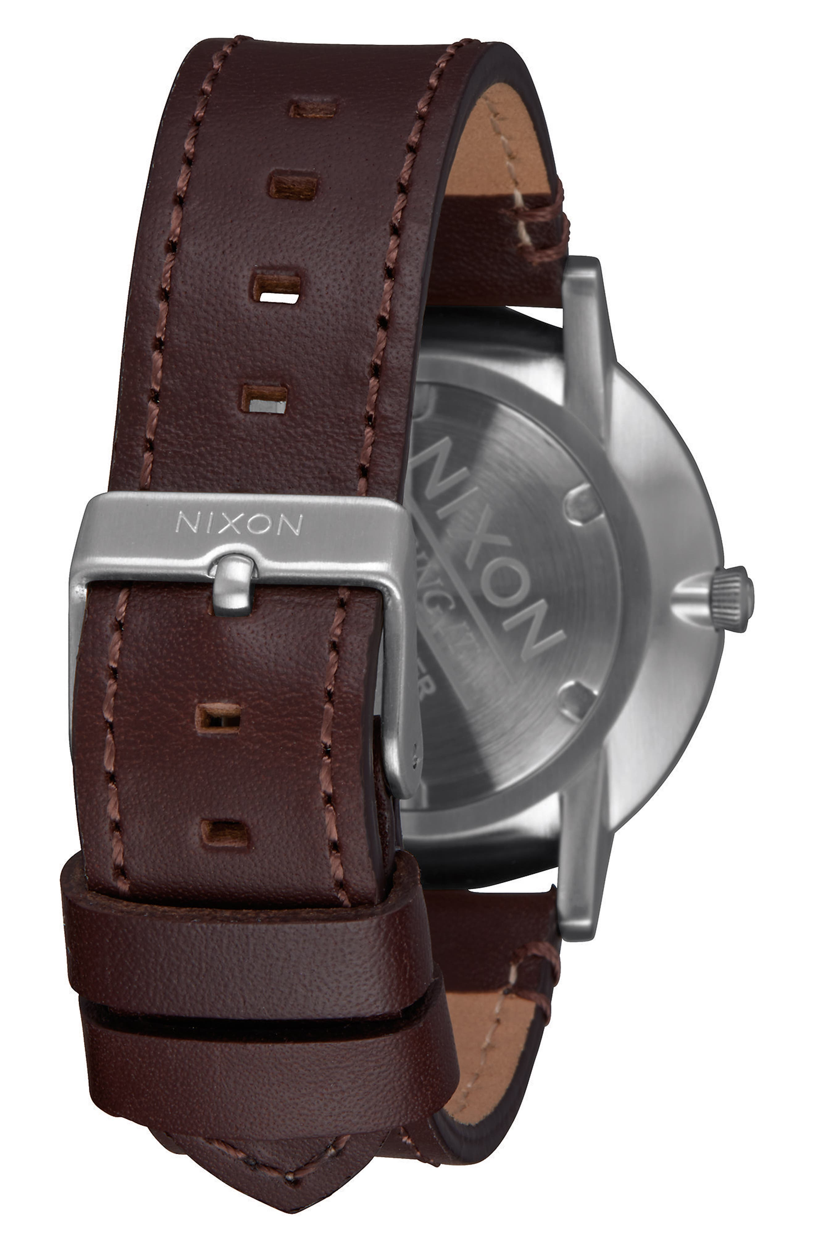 Porter Round Leather Strap Watch, 40mm,                             Alternate thumbnail 2, color,                             Brown/ Navy/ Silver