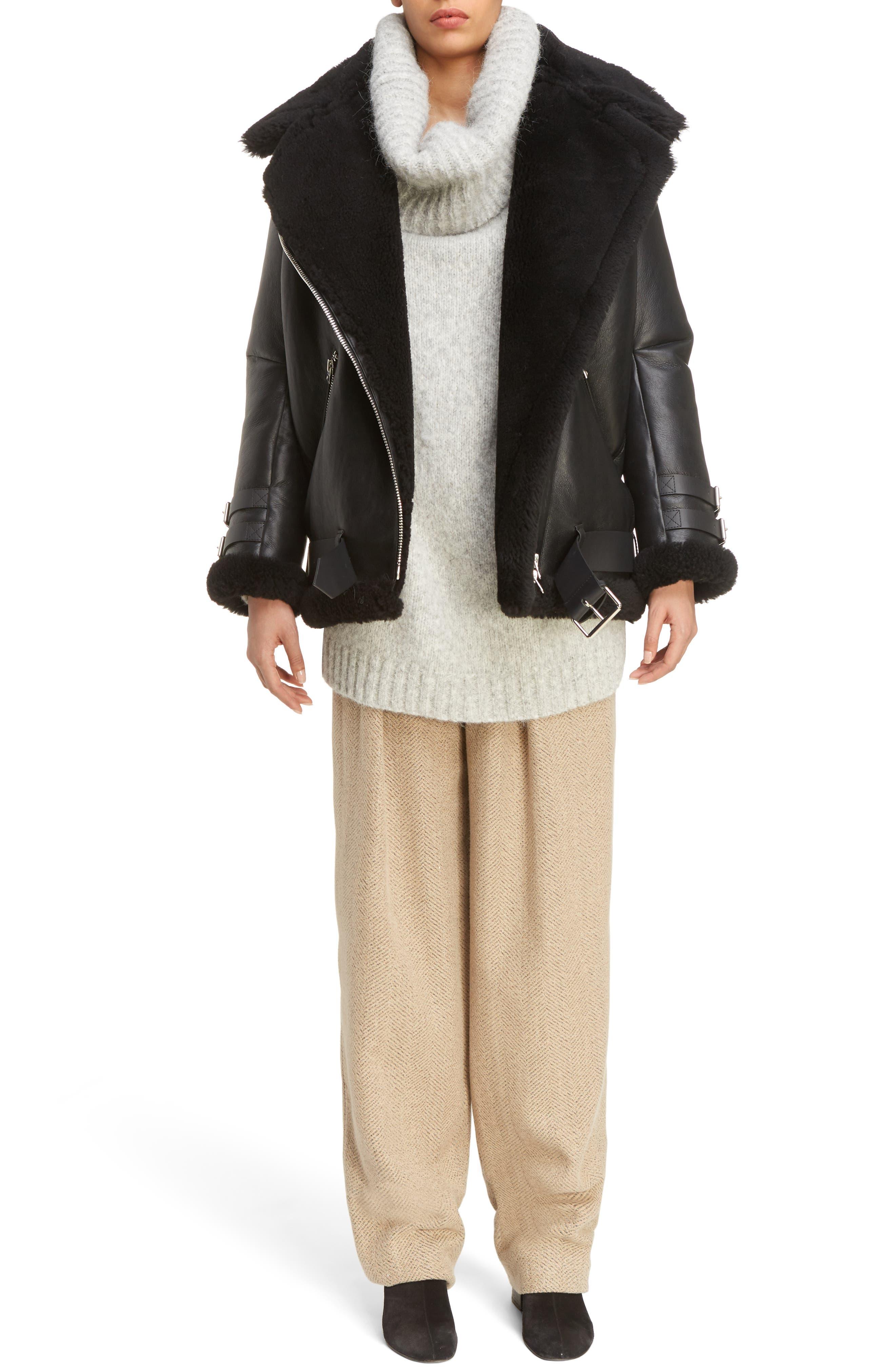 ACNE Studios Velocite Genuine Shearling Oversize Moto Jacket